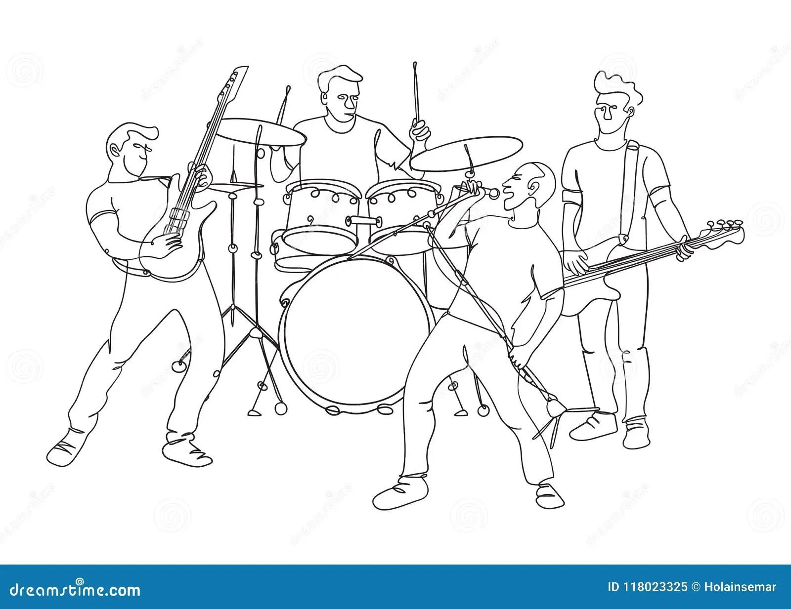 Sketch Bass Guitar Cartoon Vector