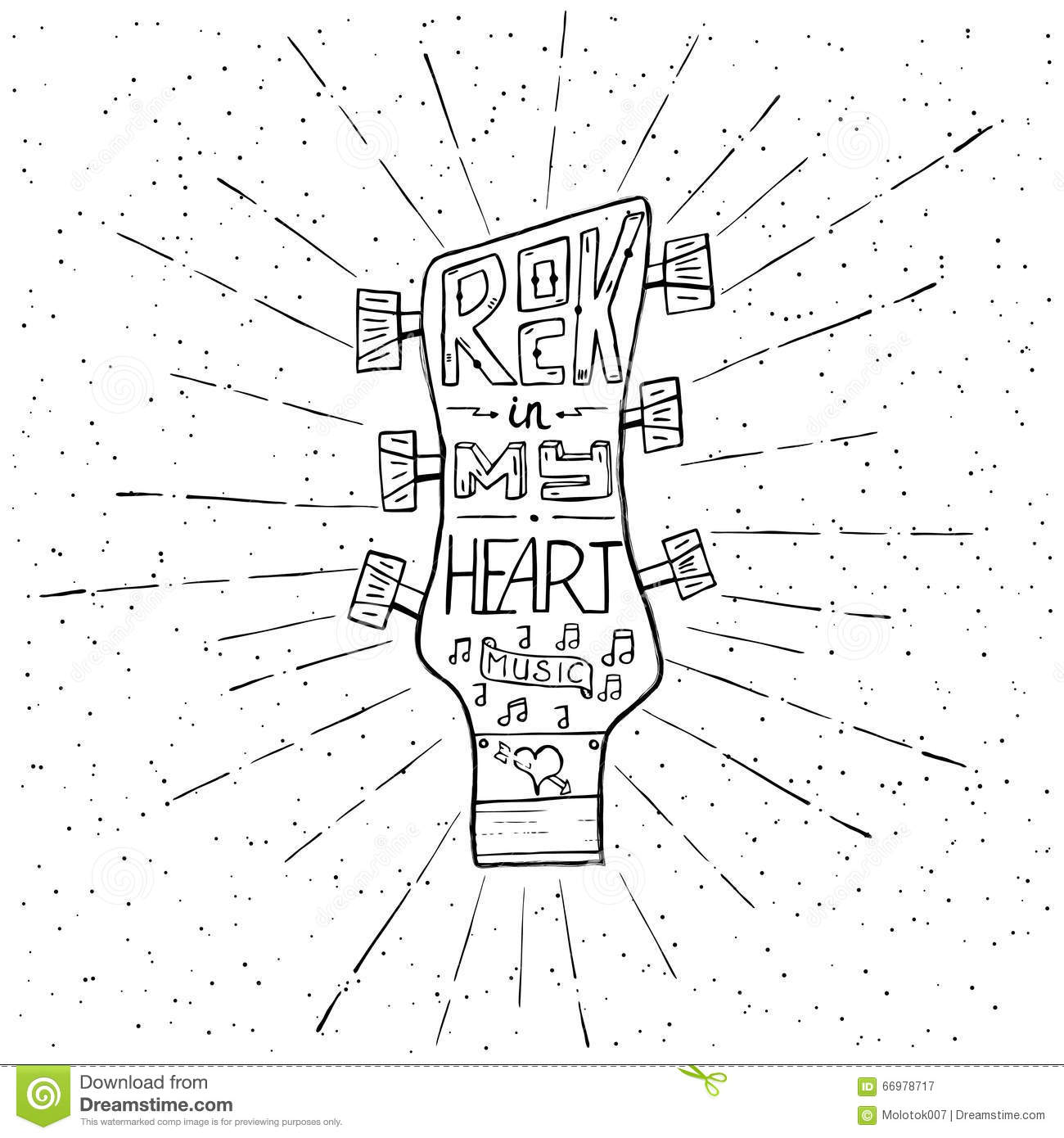 Rock Music In My Heart Hand Drawn Lettering Design With