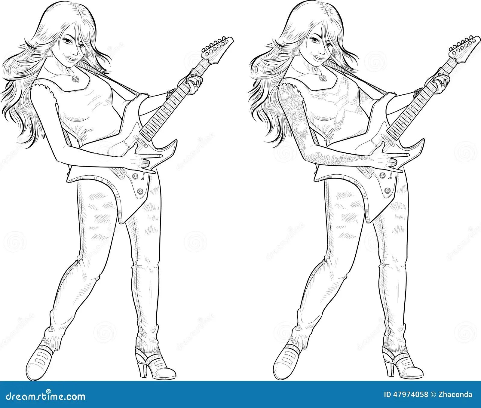 Rock Star Guitarist Girl Lineart Stock Vector