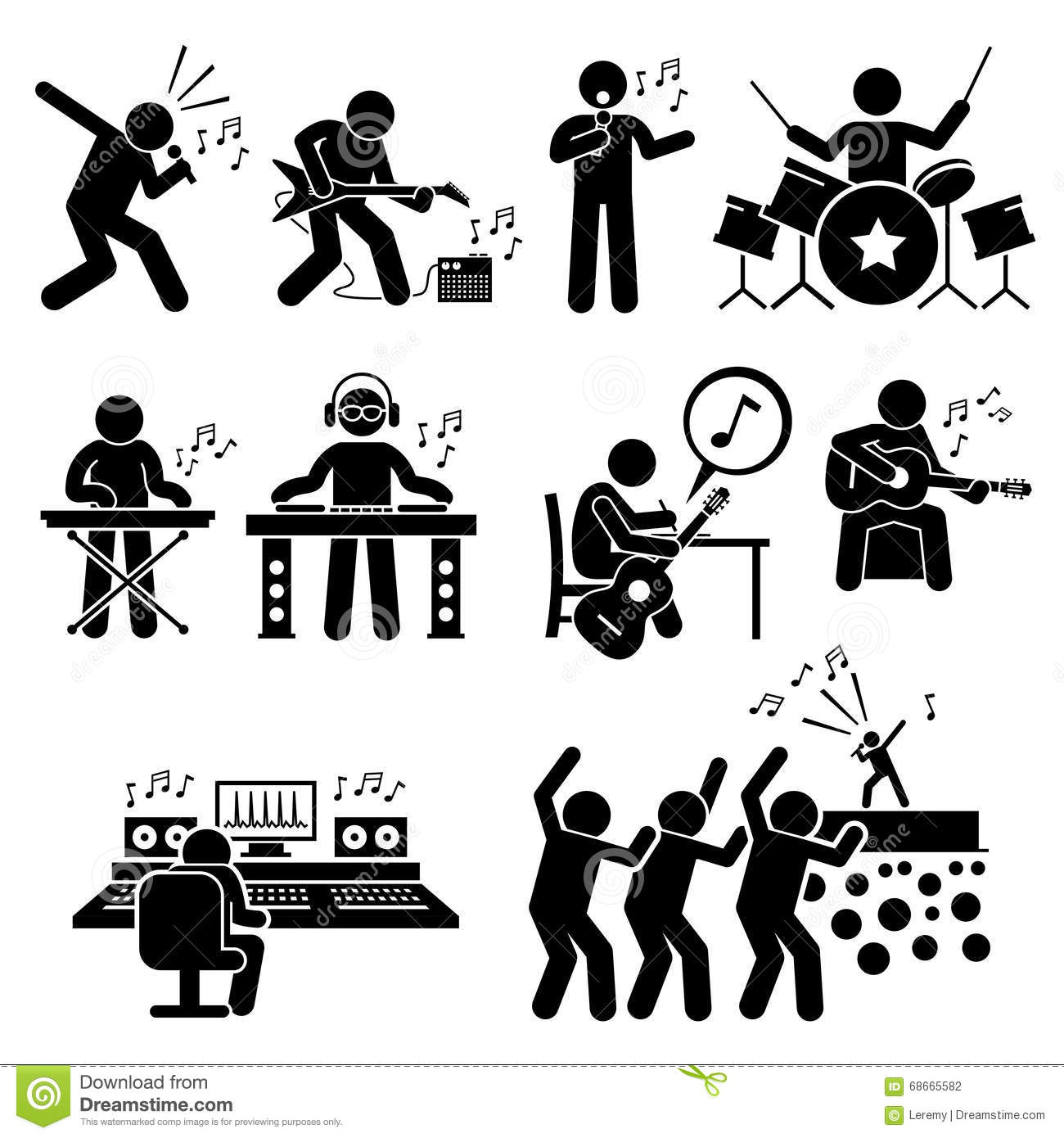Rock Star Musician Music Artist With Musical Instruments
