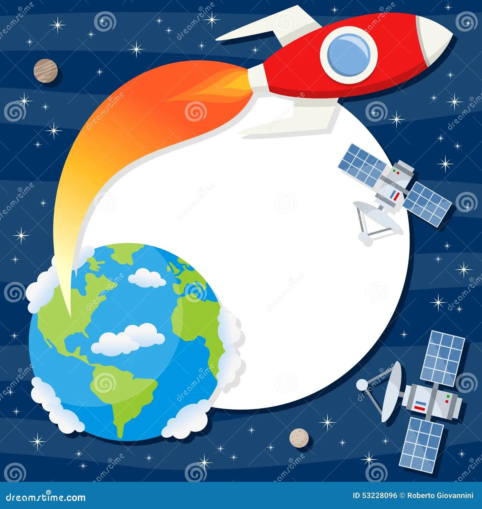 Rocket Earth Satellites Photo Frame Stock Vector