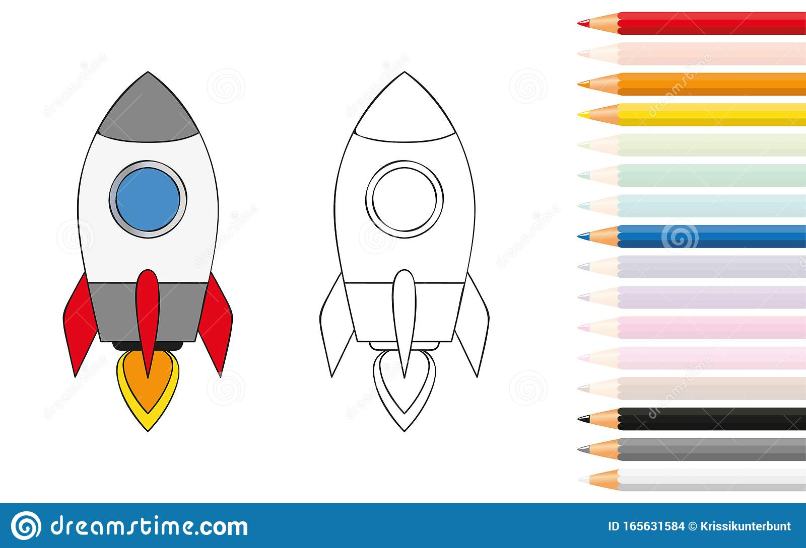 Rocket Ship Coloring Book With Pencils Stock Vector