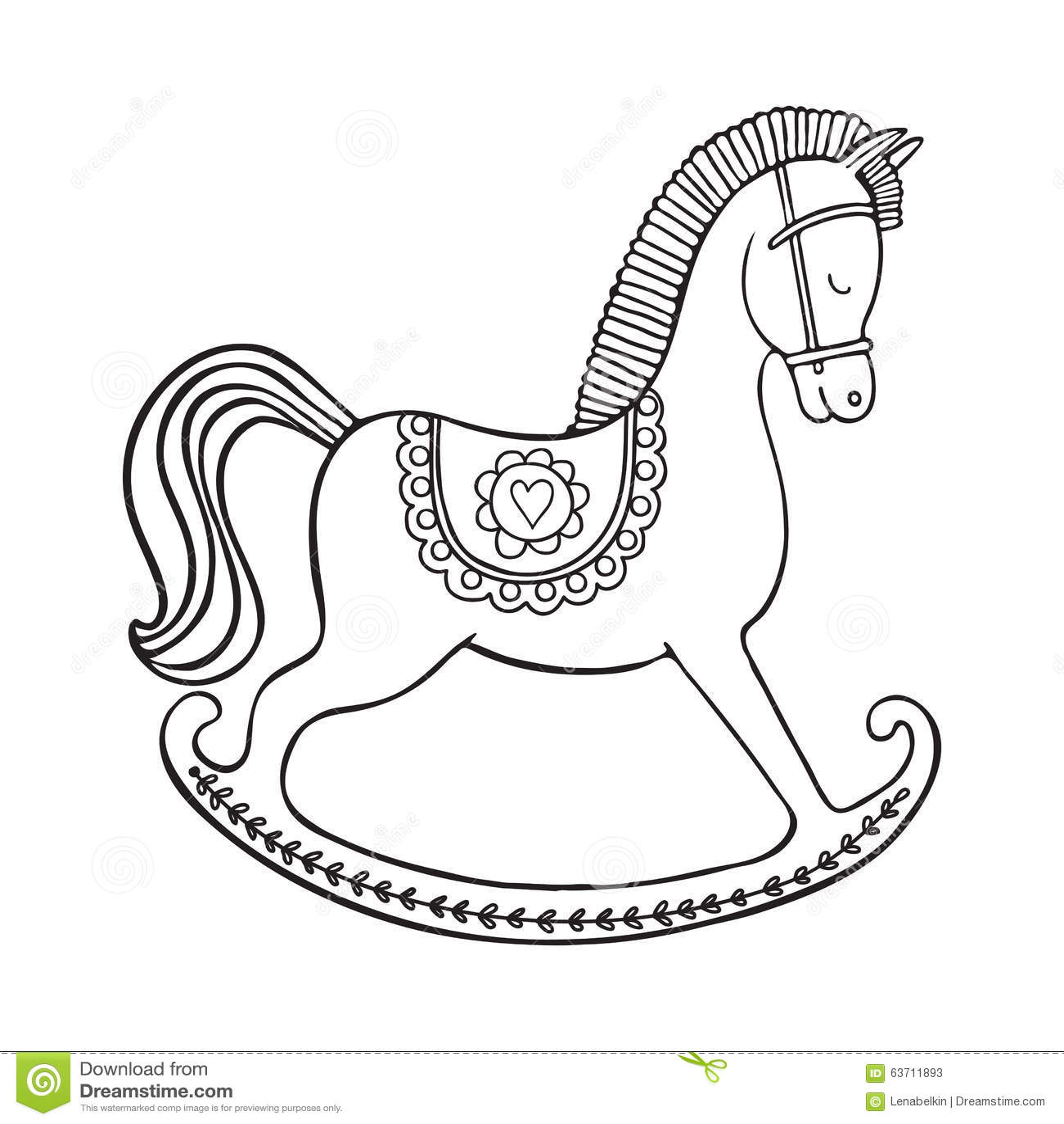 Rocking Horse On White Background Stock Vector