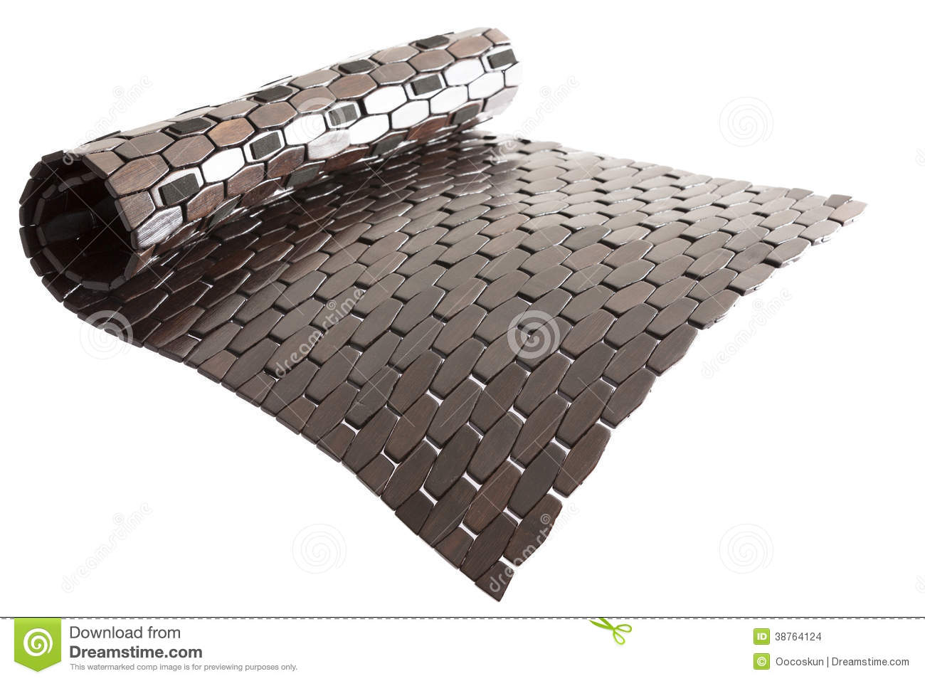 rolled black threshold bamboo bath mat stock images - image: 38764124