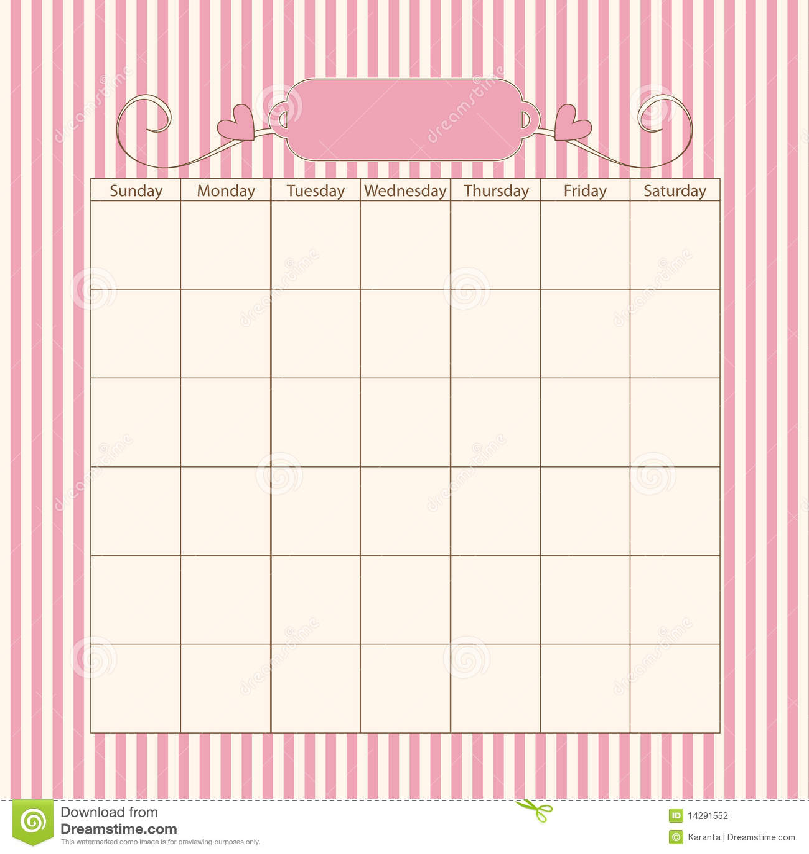 Romantic Calendar Template Stock Photography
