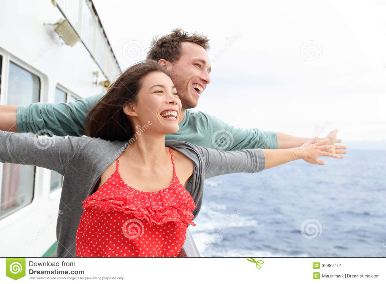 Romantic Couple Fun In Funny Pose On Cruise Ship Stock