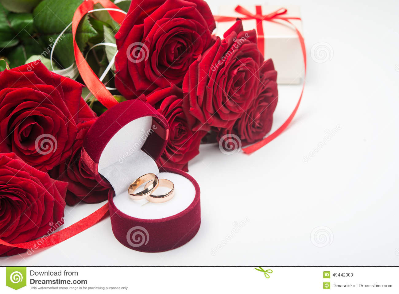 Romantic Red Roses With Wedding Rings Stock Image Image