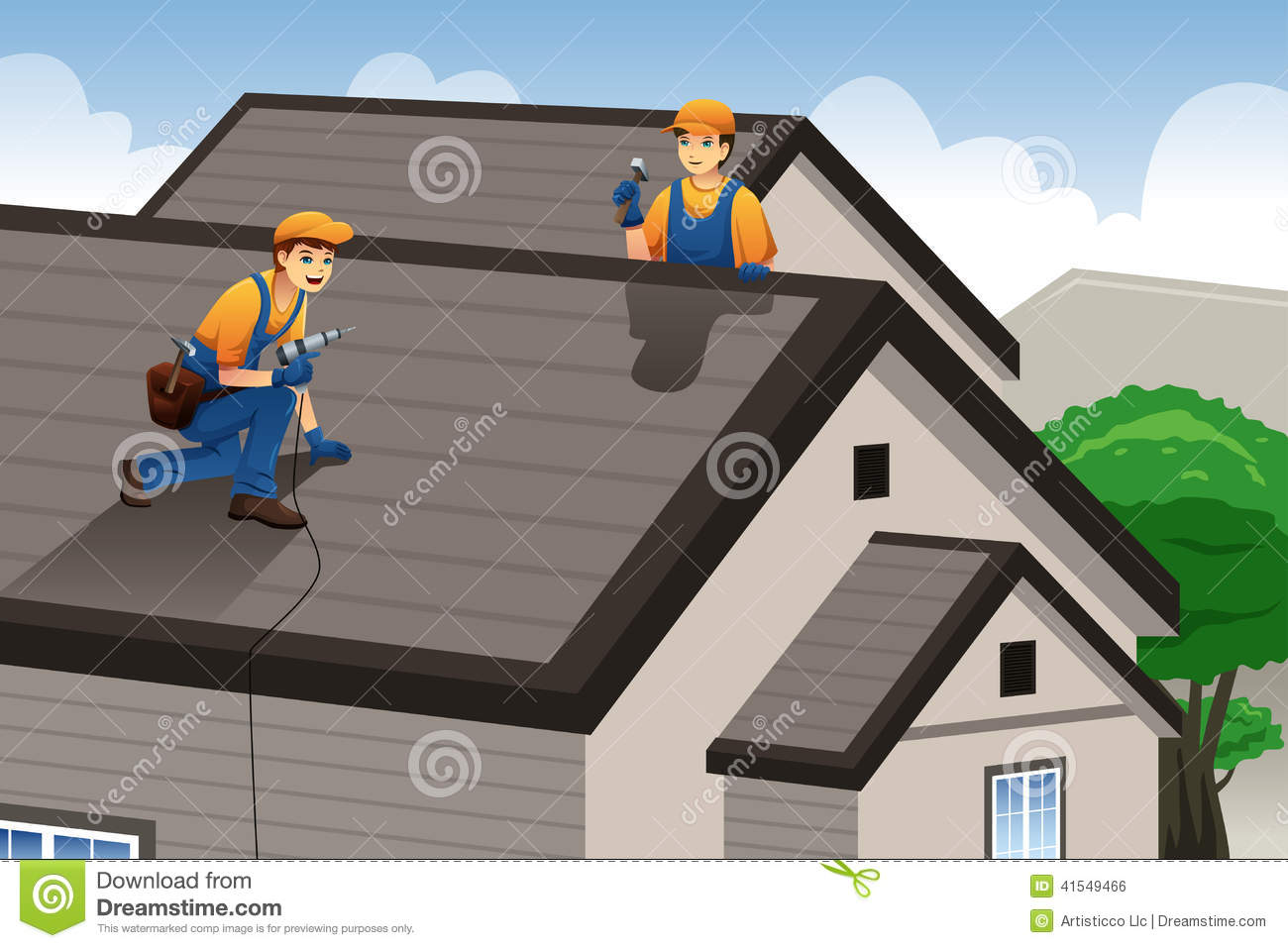Roofer Working On The Roof Stock Vector Image Of Worker