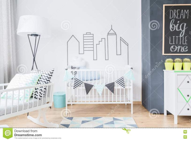 Room For A Baby In Scandinavian Style Stock Photo   Image of modern     Download Room For A Baby In Scandinavian Style Stock Photo   Image of  modern  lamp