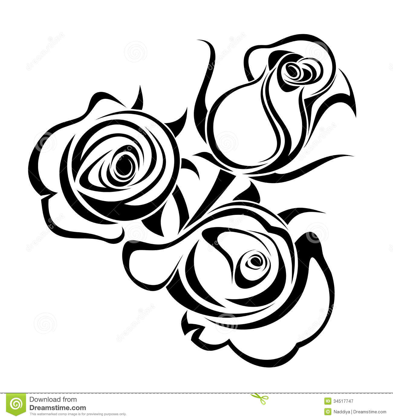 Rose Buds Black Silhouettes Stock Vector