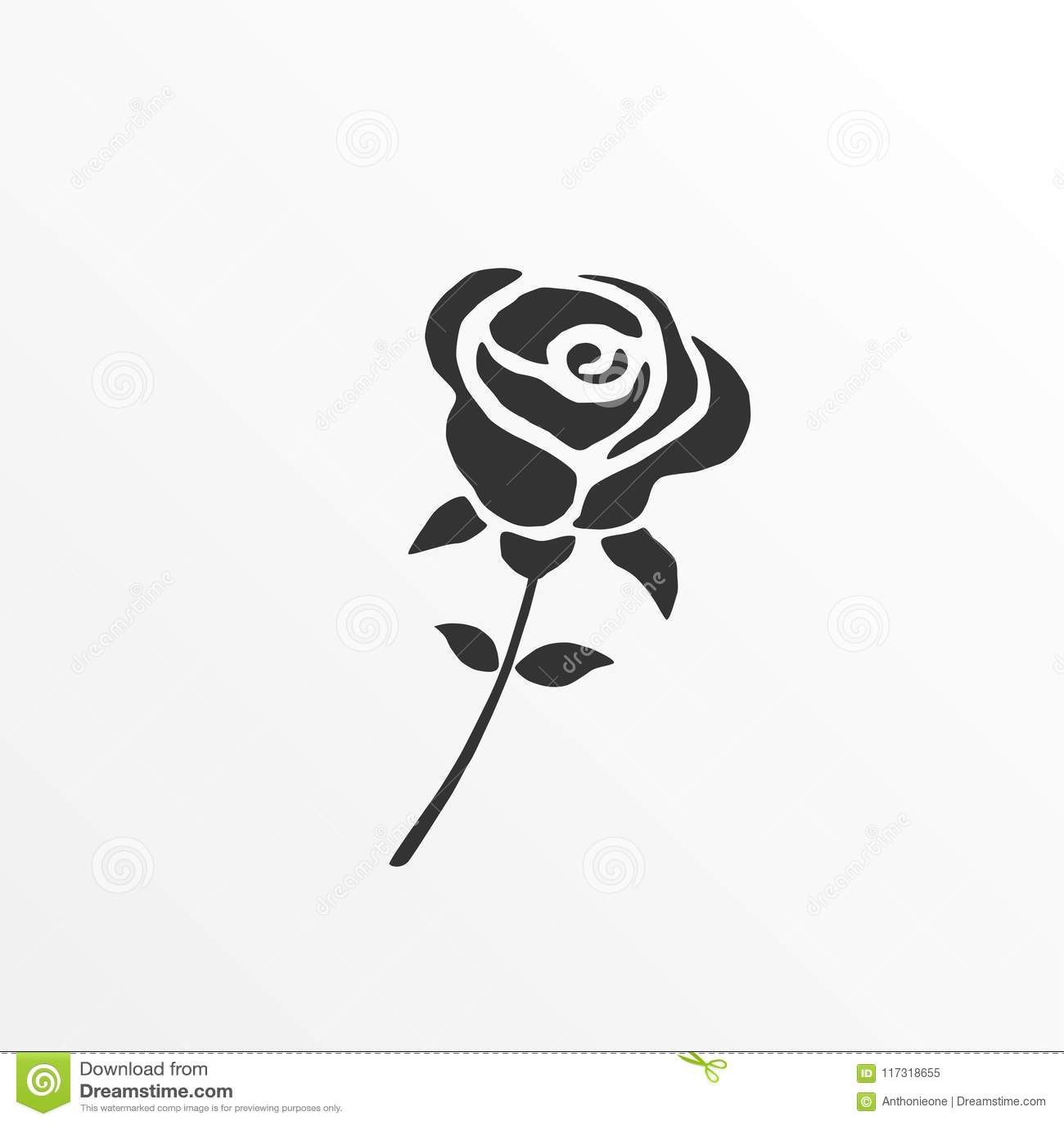 Rose Silhouette Icon Stock Vector Illustration Of Design
