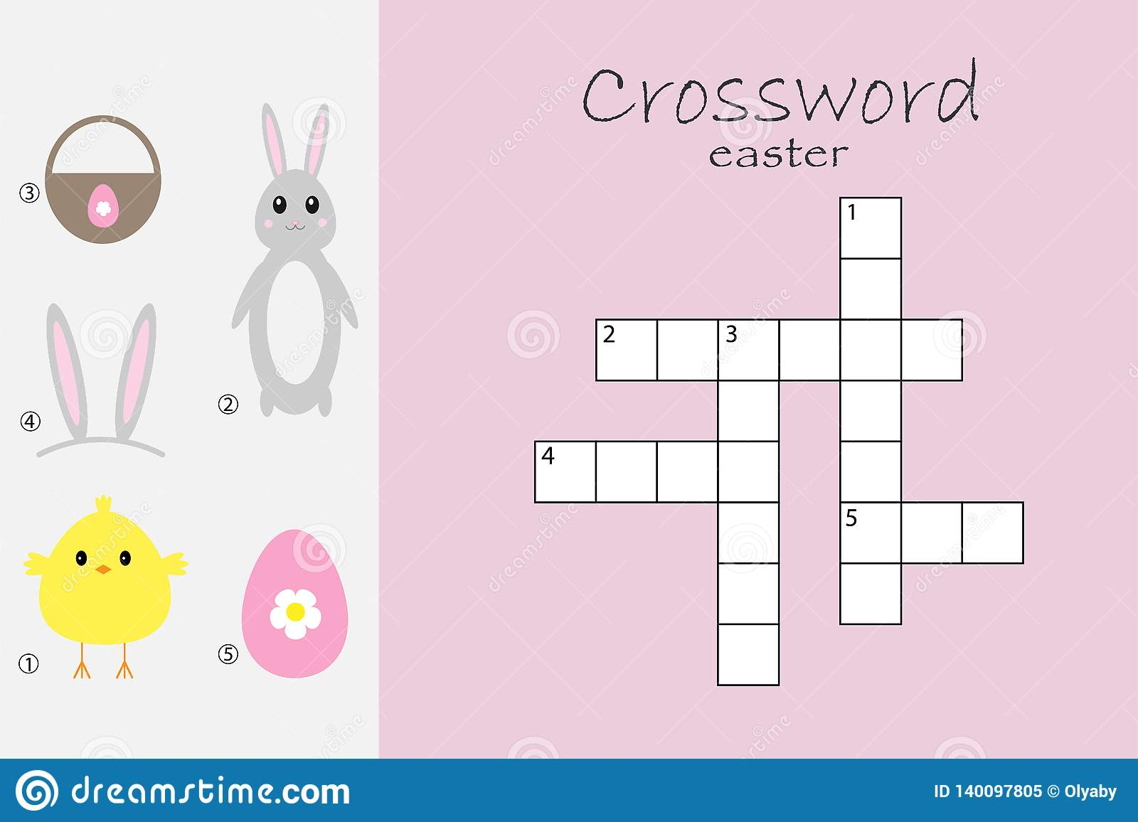 Rossword For Children Easter Theme Fun Education Game
