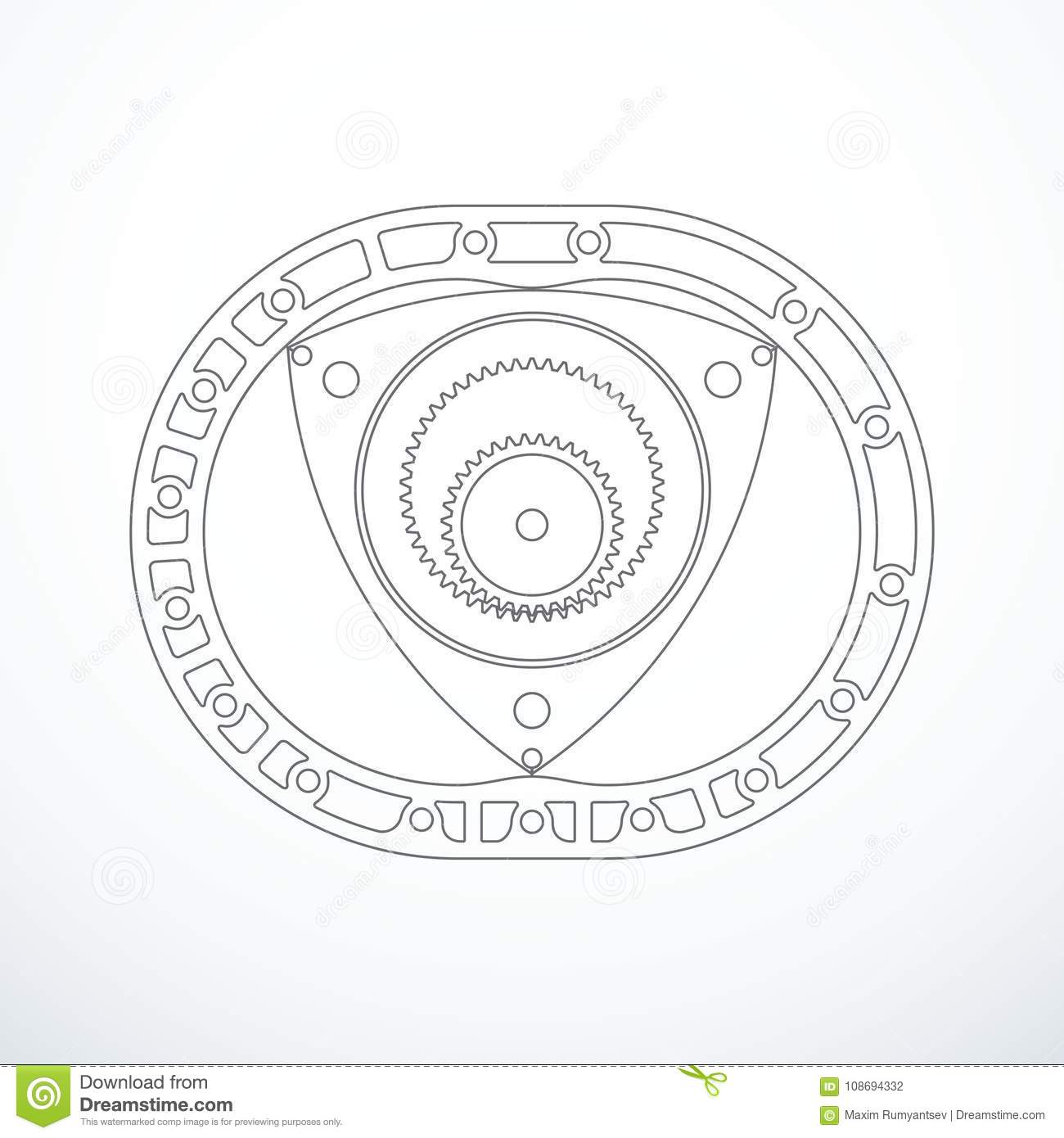 Rotary Wankel Engine Vector Illustration Stock Vector