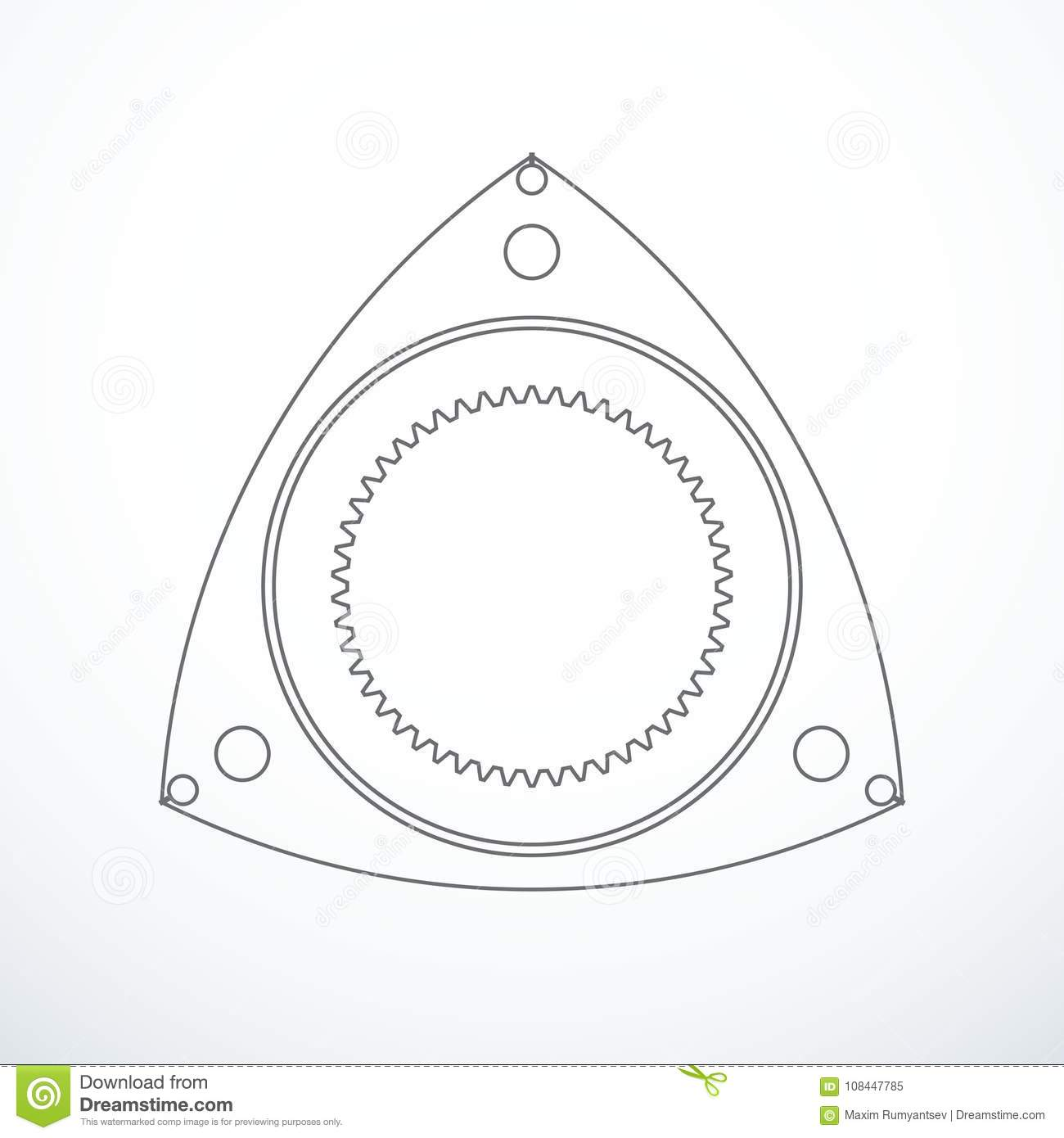Rotor Of Rotary Wankel Engine Vector Illustration Stock Vector