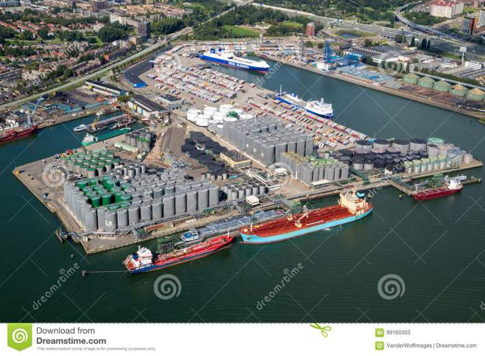 Port Rotterdam Oil Container Shipping Editorial Stock Photo - Image of global, import: 99160303
