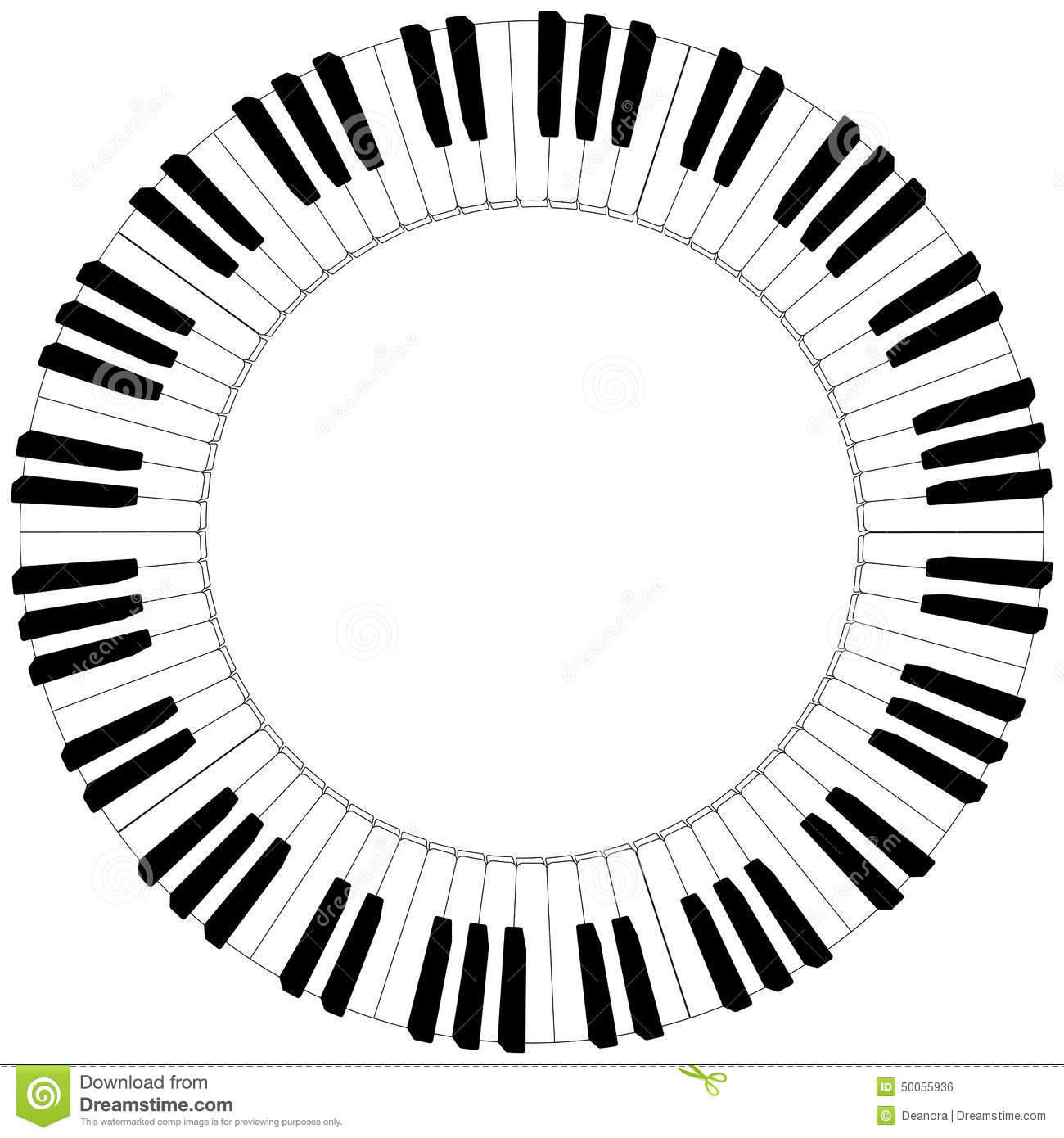 Round Black And White Piano Keyboard Frame Stock Vector