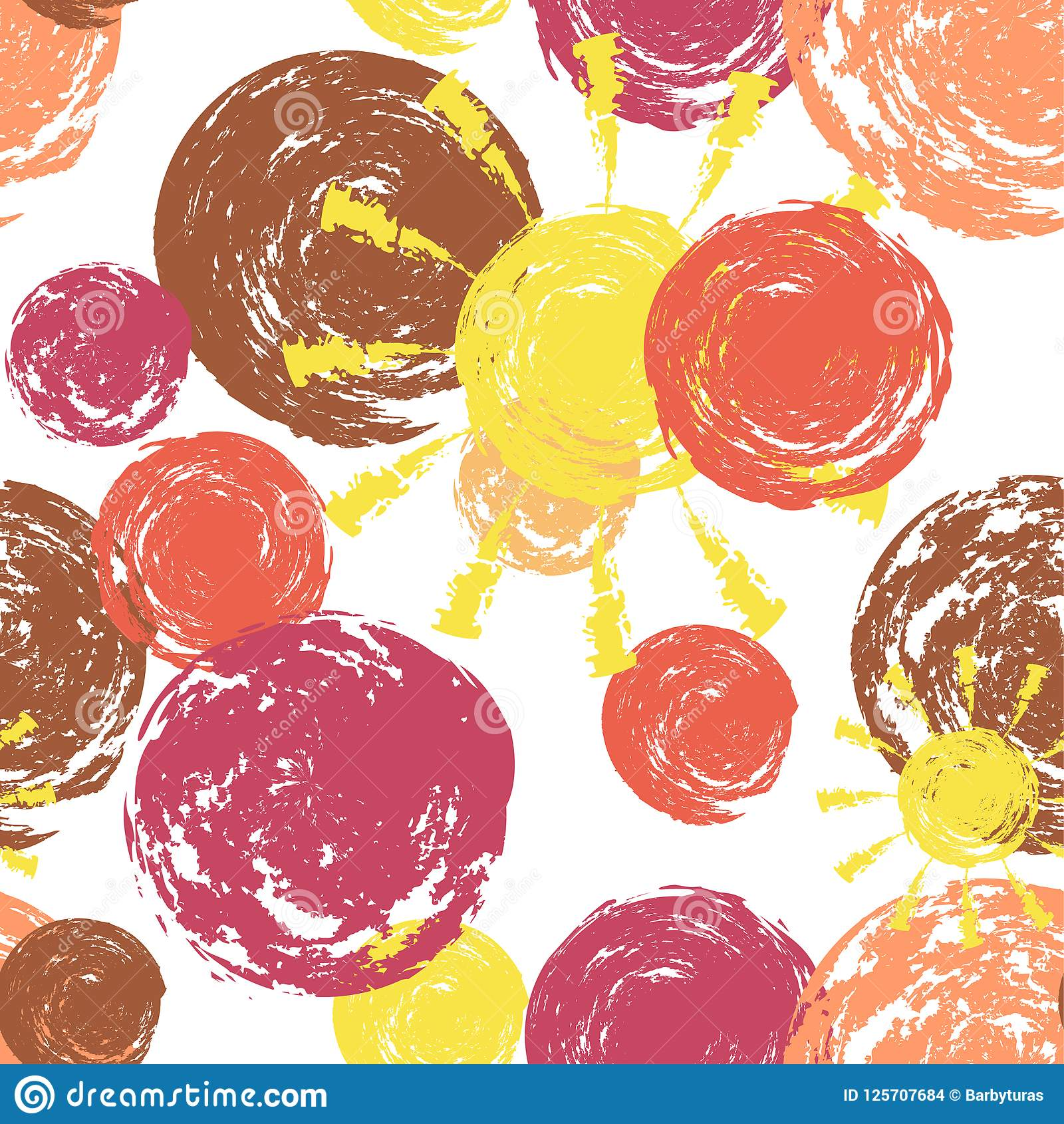 Round Paint Brush Stroke Vector Seamless Pattern Grunge