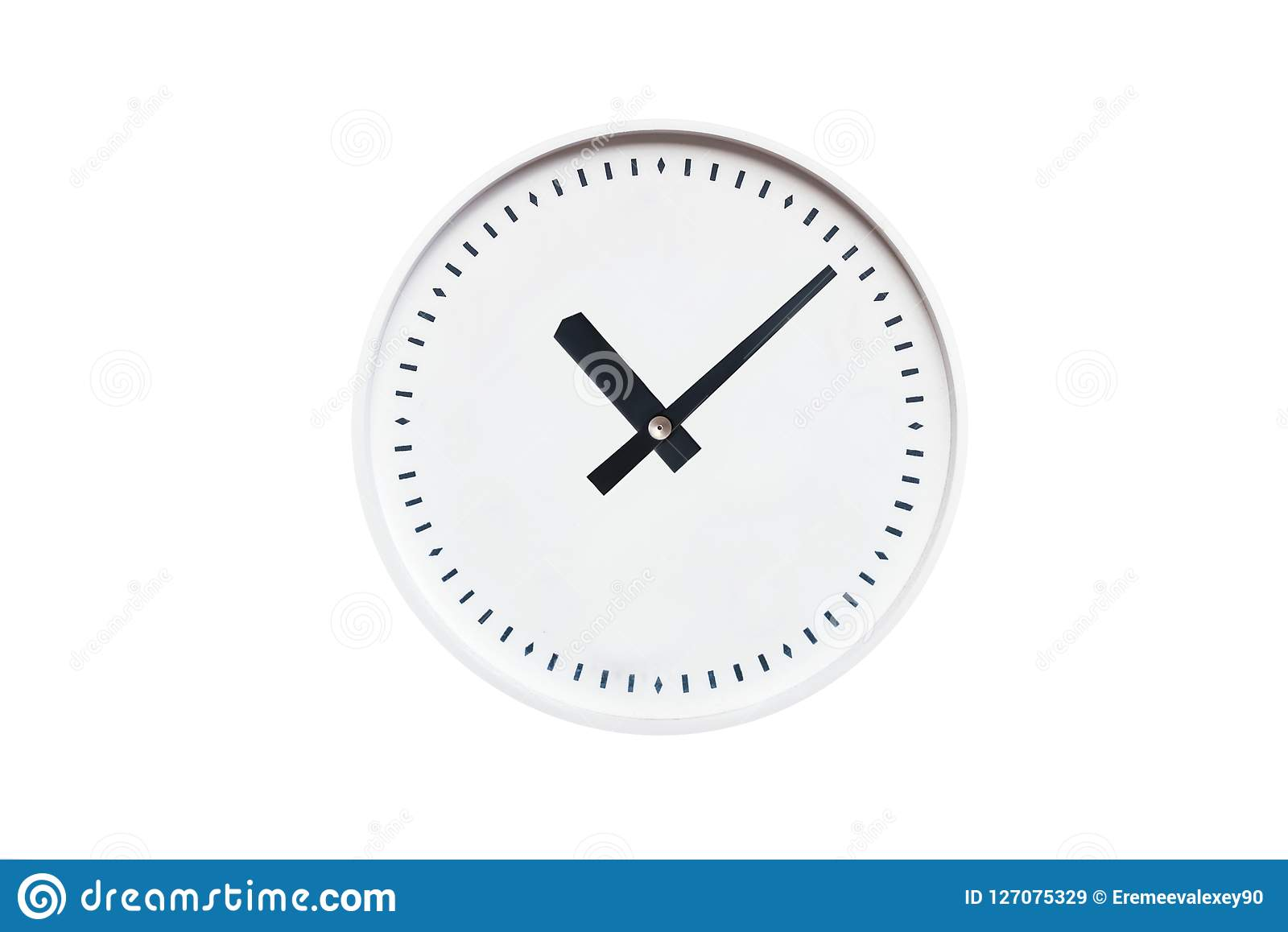 Round White Clock Without Numbers On White Isolated