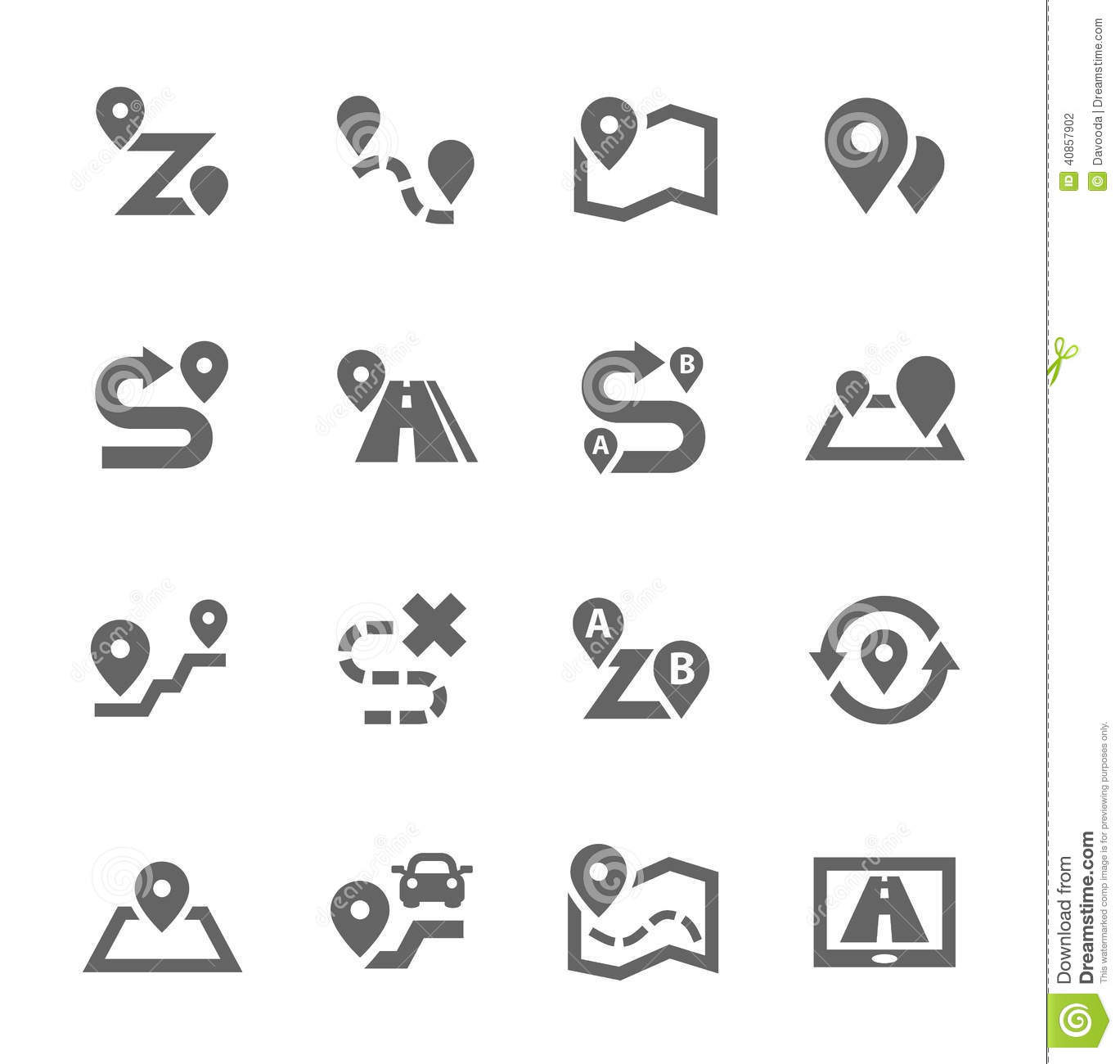 Route Icons Stock Vector Illustration Of Searching