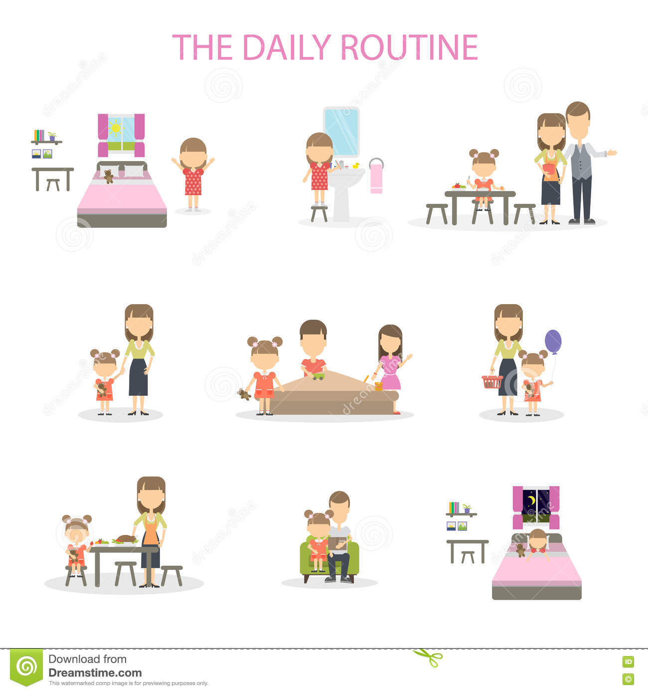 The Daily Routine Stock Vector Illustration Of Lifestyle