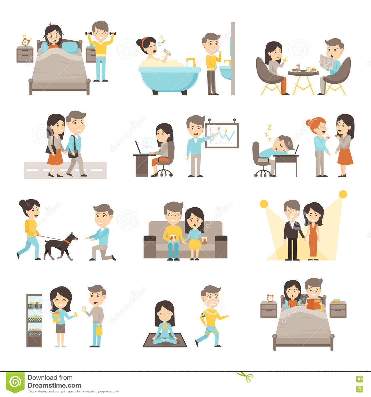 Daily Routine People Set Stock Vector Illustration Of