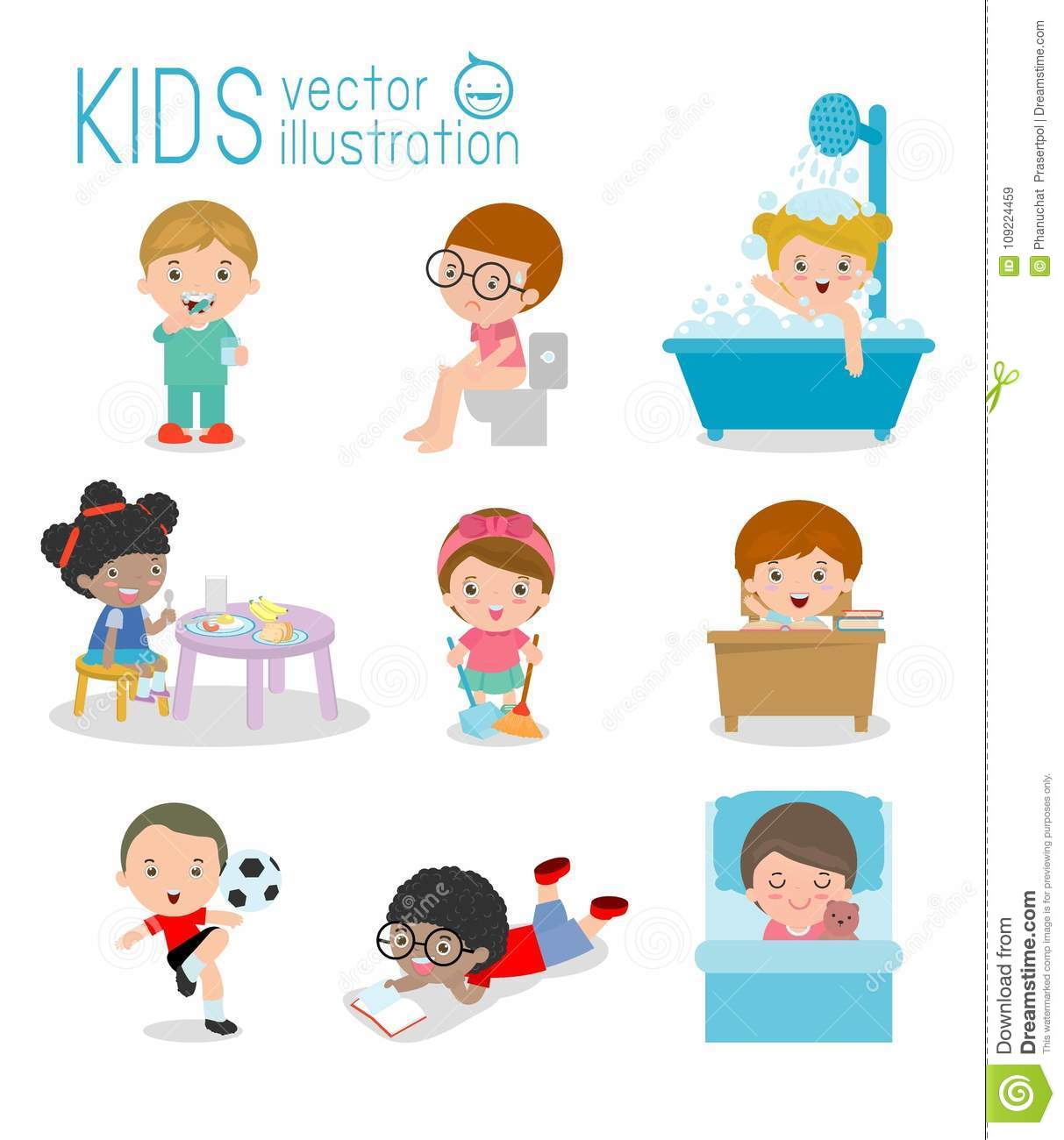 Daily Routine Daily Routine Of Happy Kids Health And Hygiene Daily Routines For Kids Daily