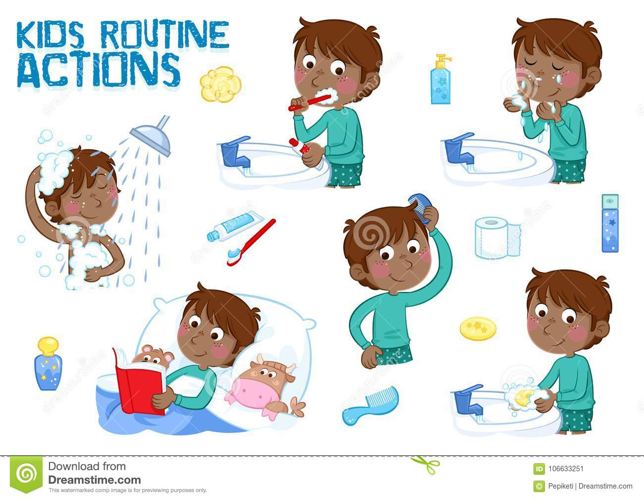 Little Black Boy And His Daily Routine