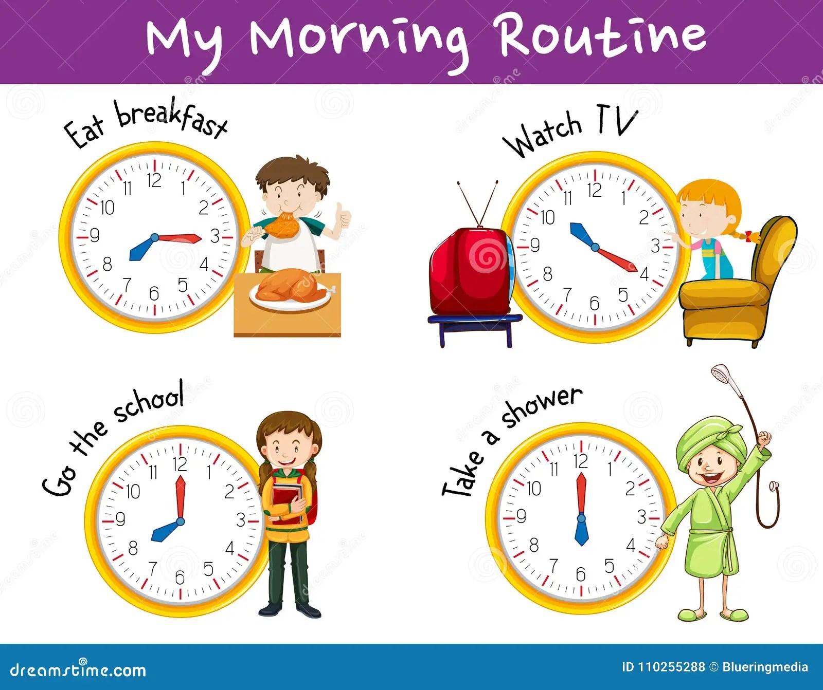 Routines De Matin Pour Des Enfants Avec L Horloge Et Les Activites Illustration De Vecteur