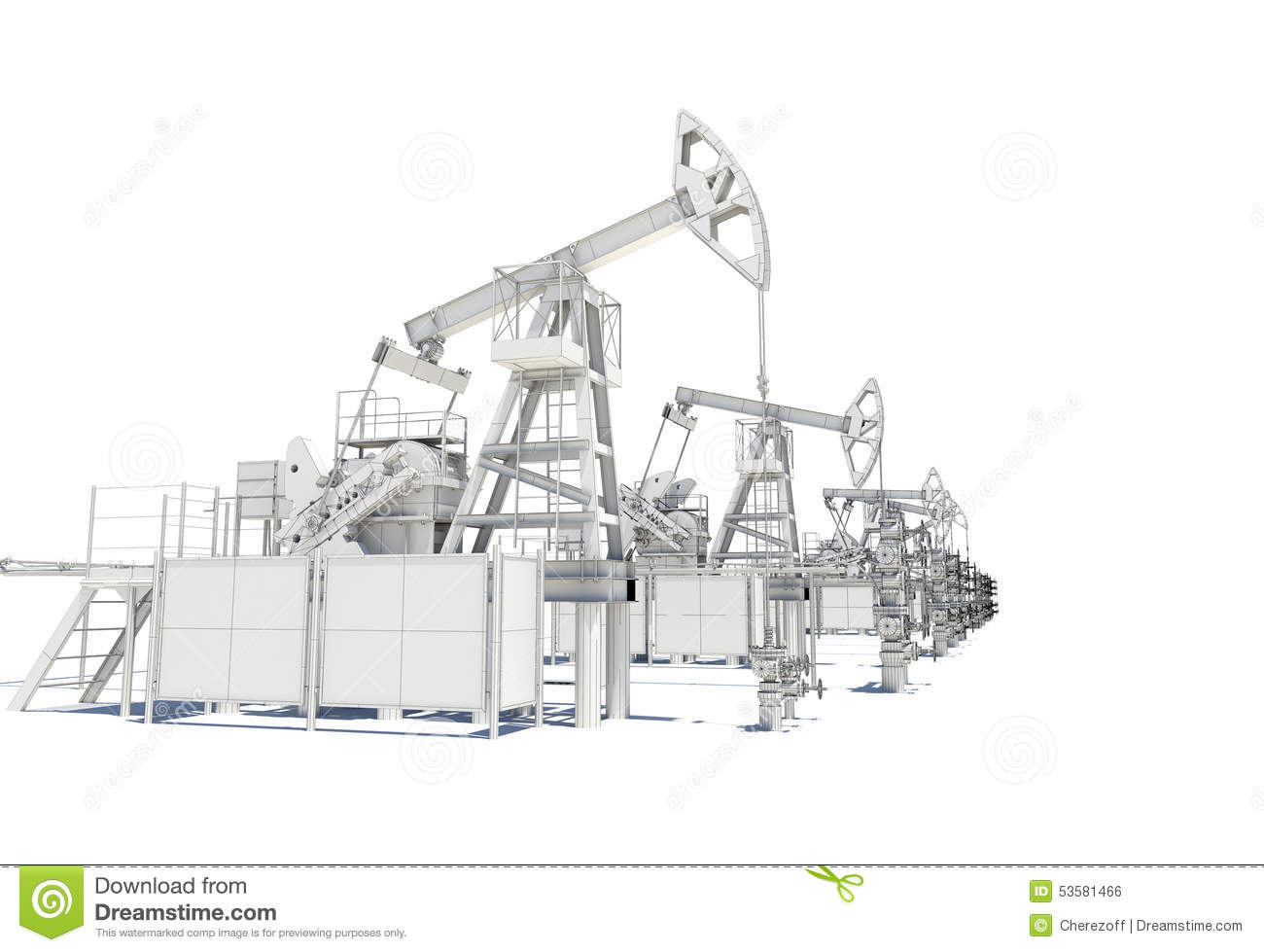 Row Of Oil And Gas Pump Jacks Stock Illustration