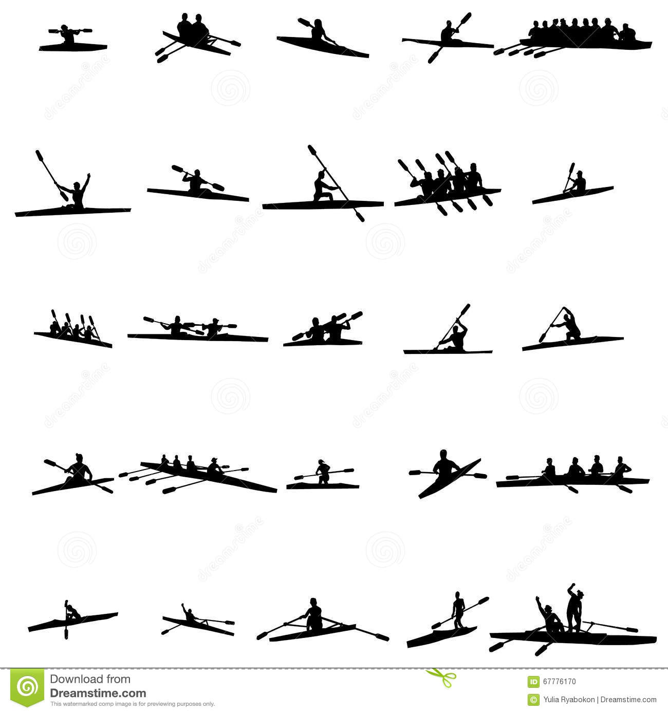 Rowing Silhouette Set Stock Vector