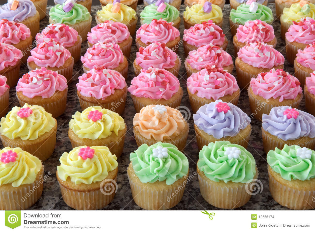 Rows Of Pastel Colored Cupcakes Stock Images Image 18666174