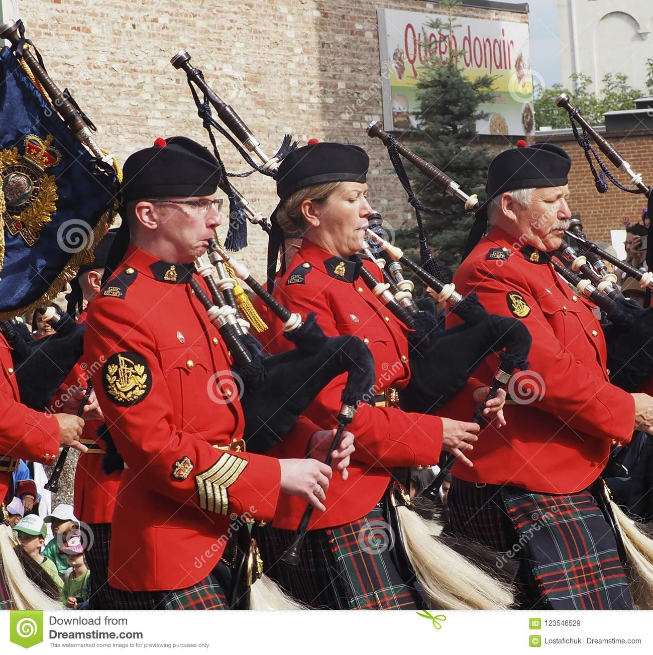 Royal Canadian Mounted Police Pipe Band In Uniform
