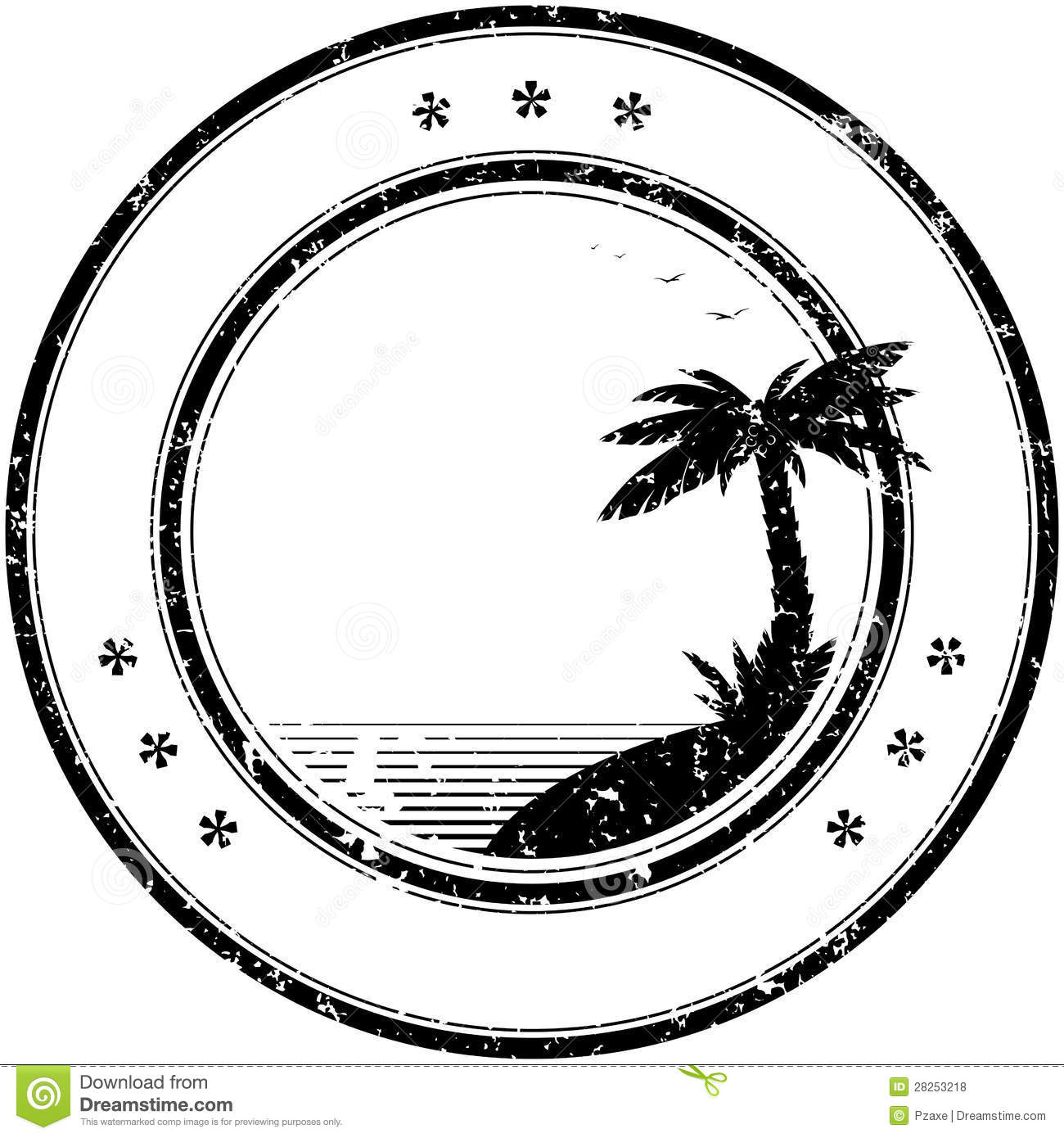 Rubber Vector Stamp With Tropical Palm Tree Royalty Free