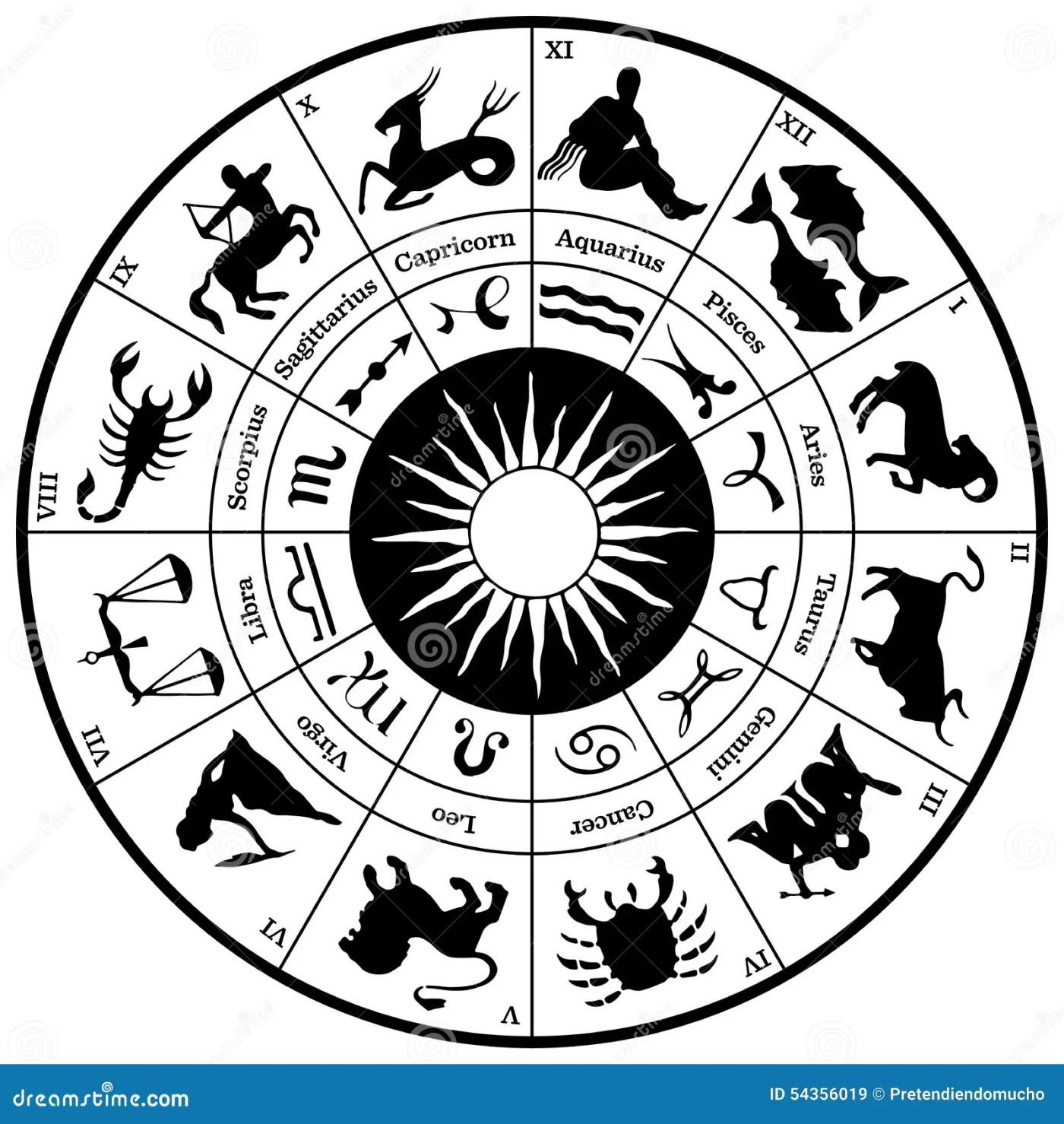 Rueda Del Horóscopo Del Zodiaco Ilustración del Vector - Ilustración de  libros, tauro: 54356019