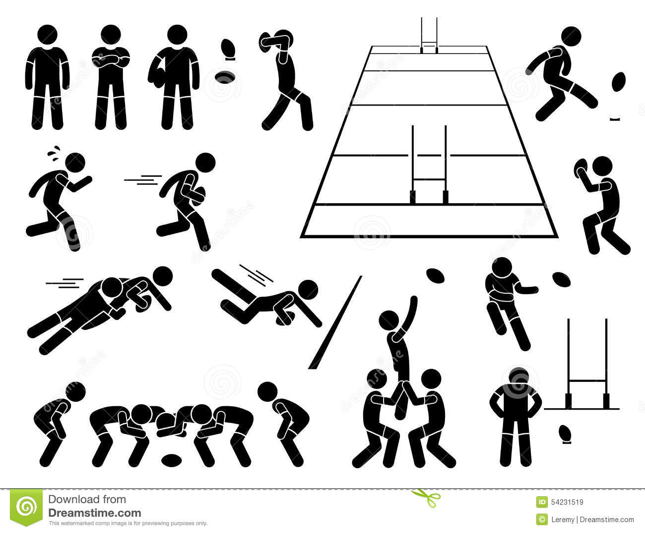 Rugby Player Actions Poses Cliparts Stock Vector