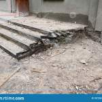 Ruined Badly Broken Damaged Front Concrete Stairs Porch Steps Staircase Need Repairing And Renovation Stock Image Image Of House Stone 187255395