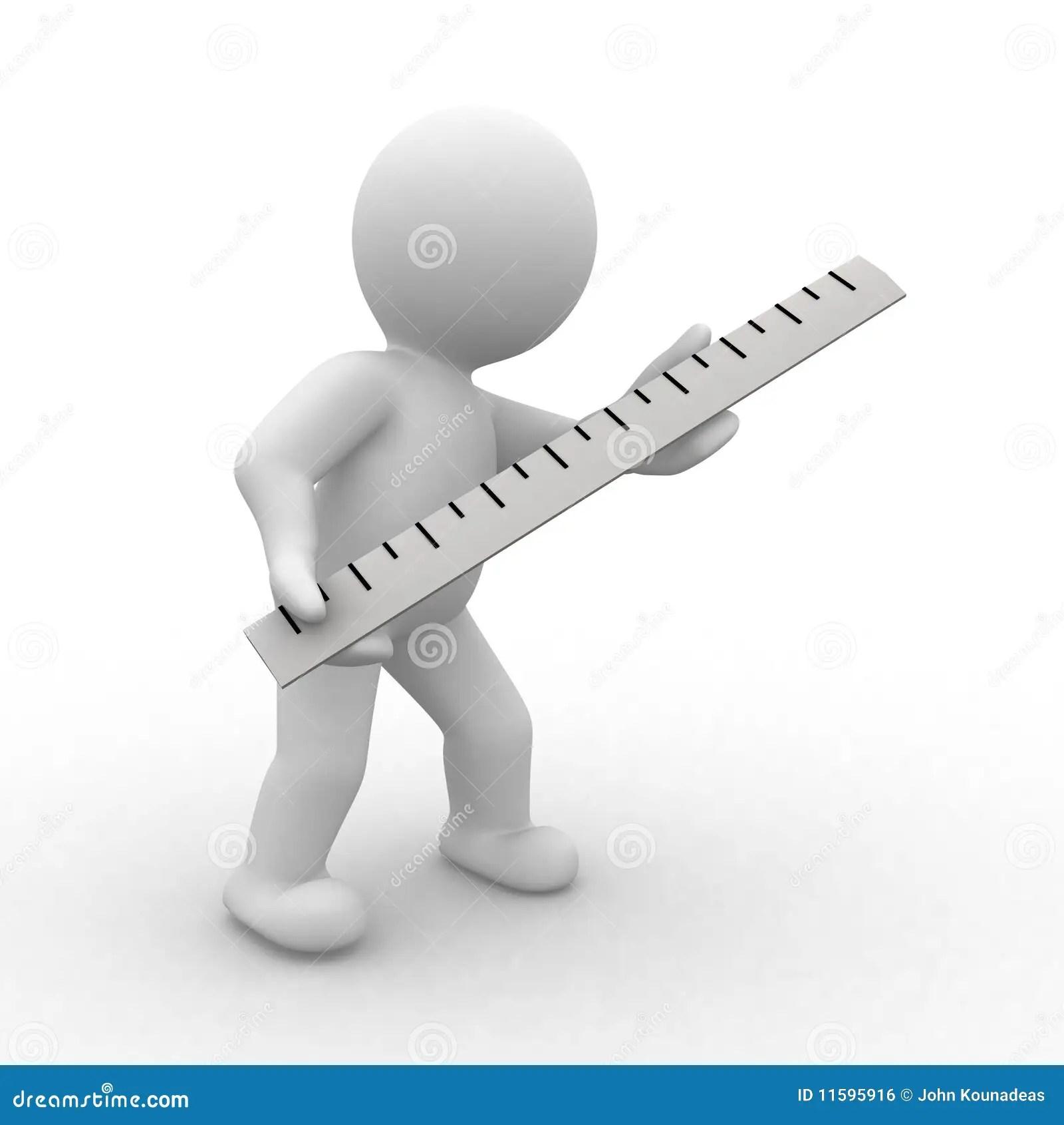 Measuring Ruler Cartoon Character Stock Photo