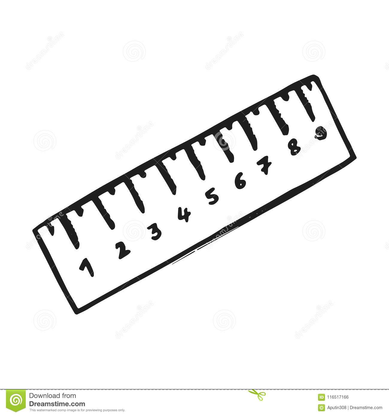 Ruler Icon Vector Sketch Hand Insulated Drawing Stock