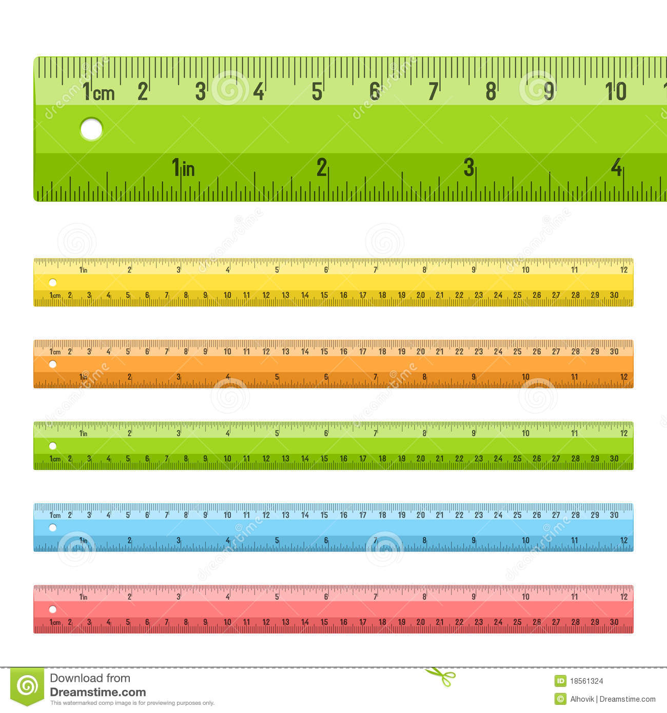 Rulers In Centimeters And Inches Stock Images