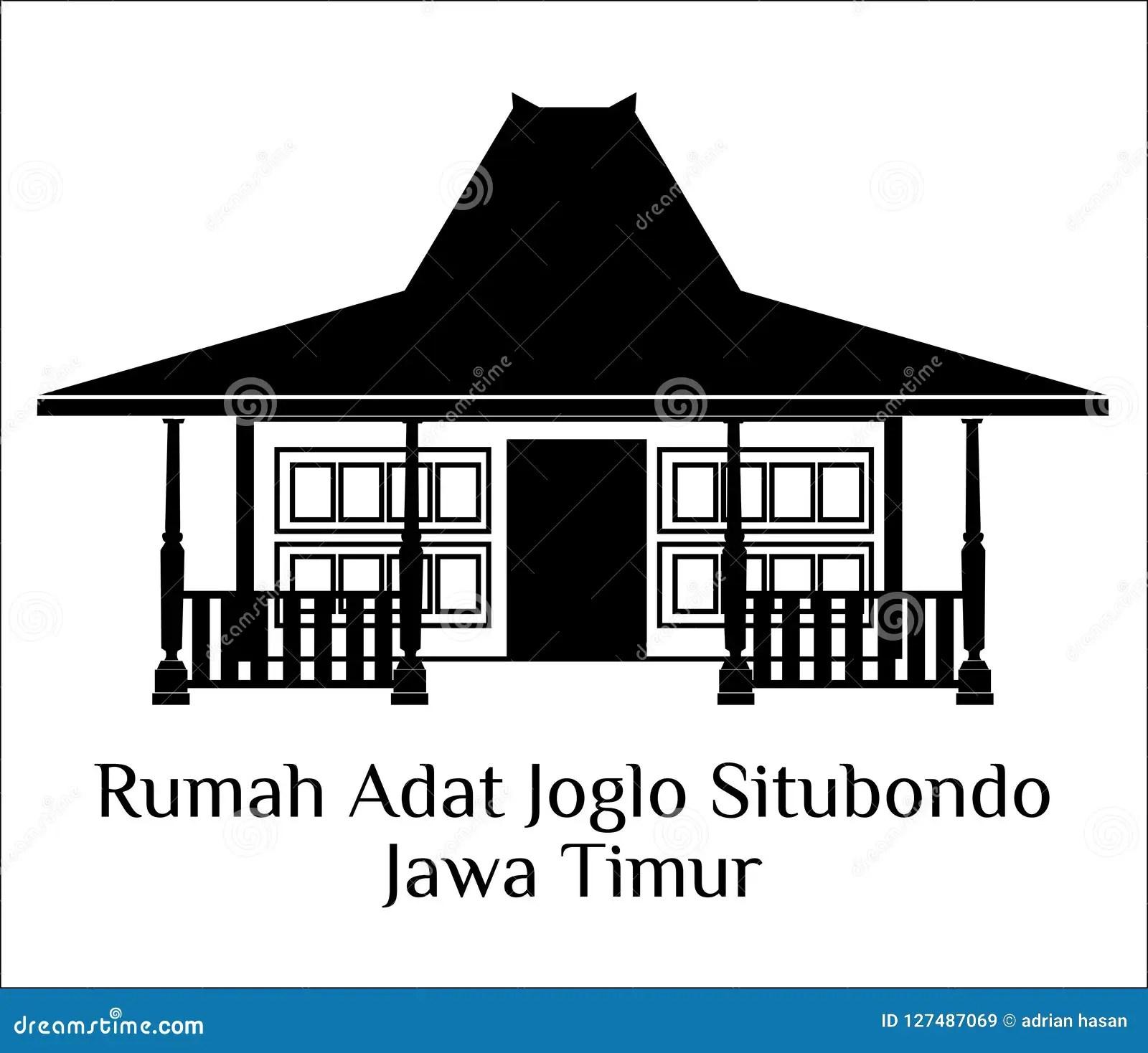 Rumah Adat Joglo Situbondo Jawa Timur Stock Illustration