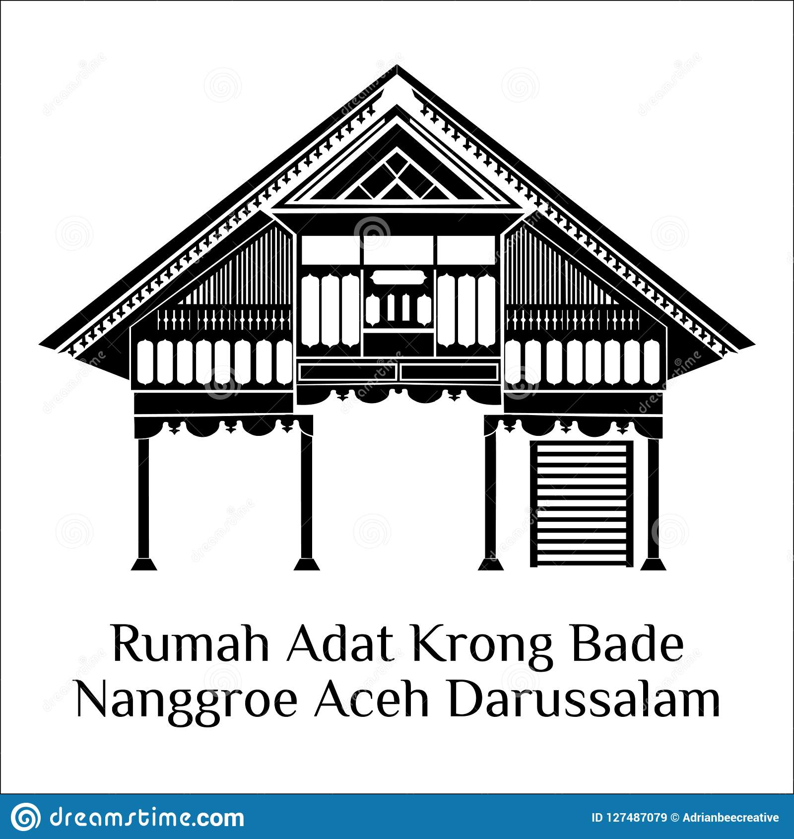 Rumah Adat Krong Bade Aceh Stock Illustration Illustration Of Aceh