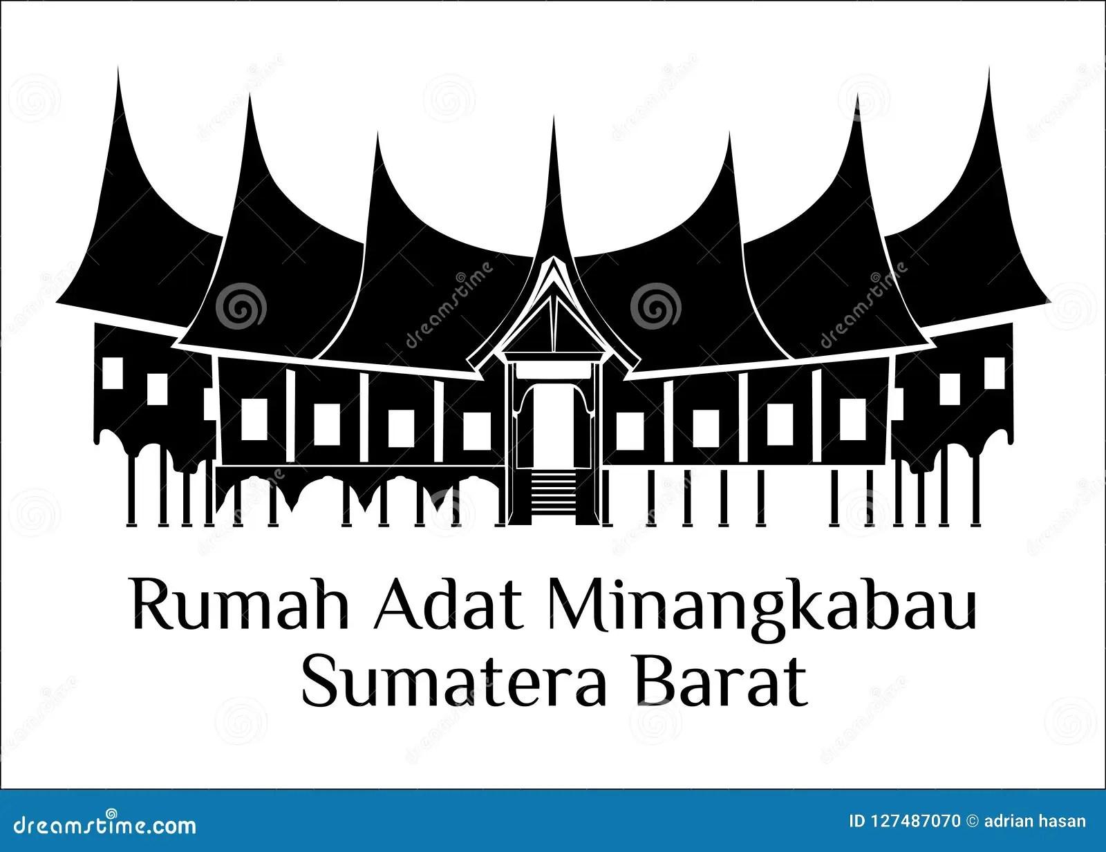 Rumah Adat Minangkabau Sumatra Barat Stock Illustration