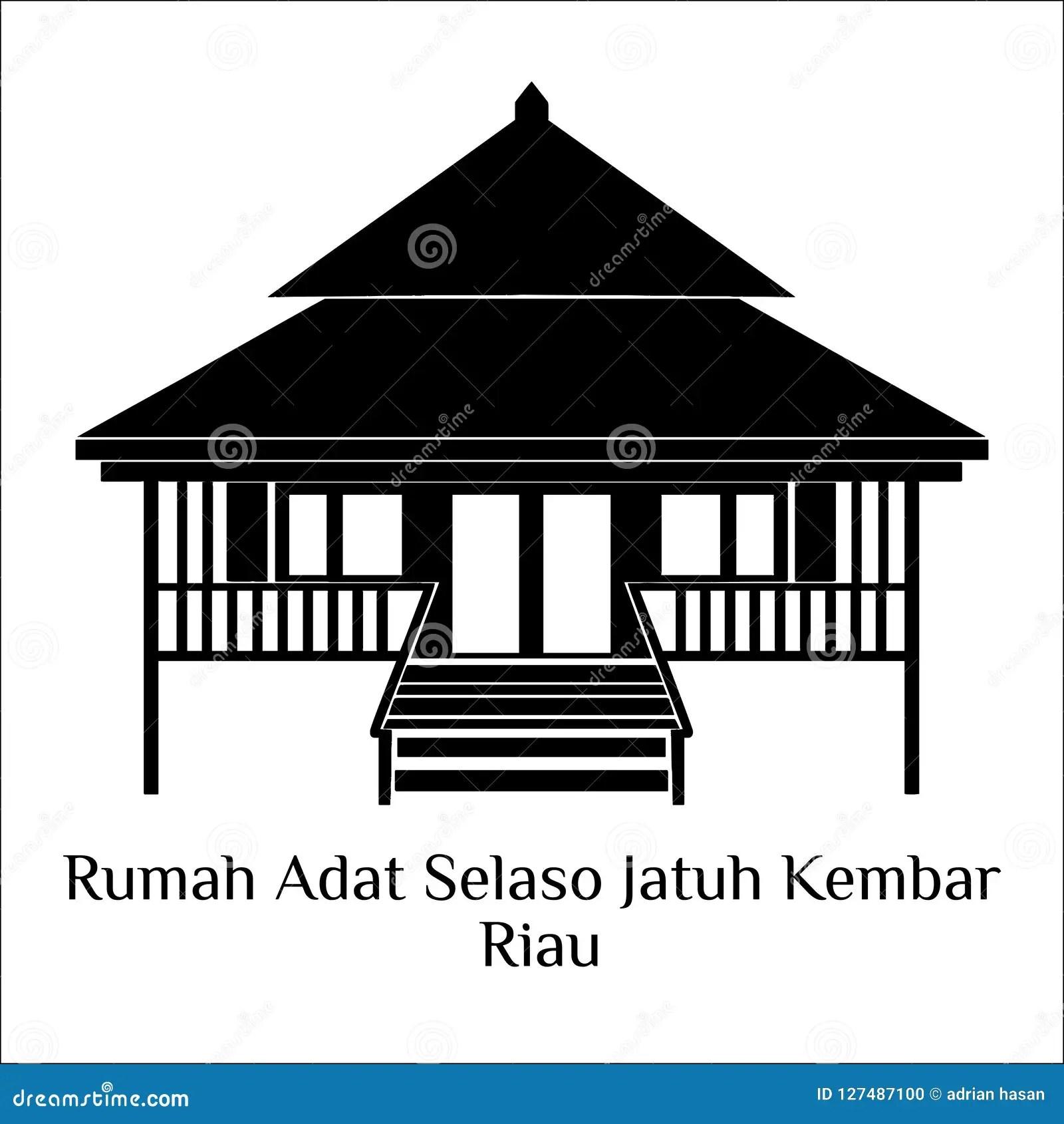 Rumah Adat Selaso Jatu Kembar Riau Stock Illustration Illustration