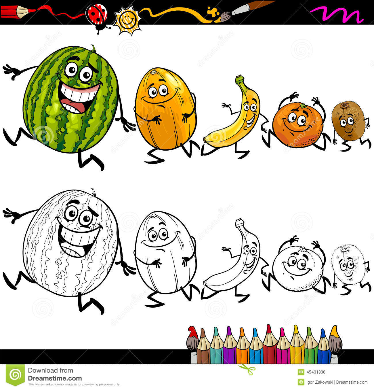 Running Fruits Cartoon Coloring Page Stock Vector