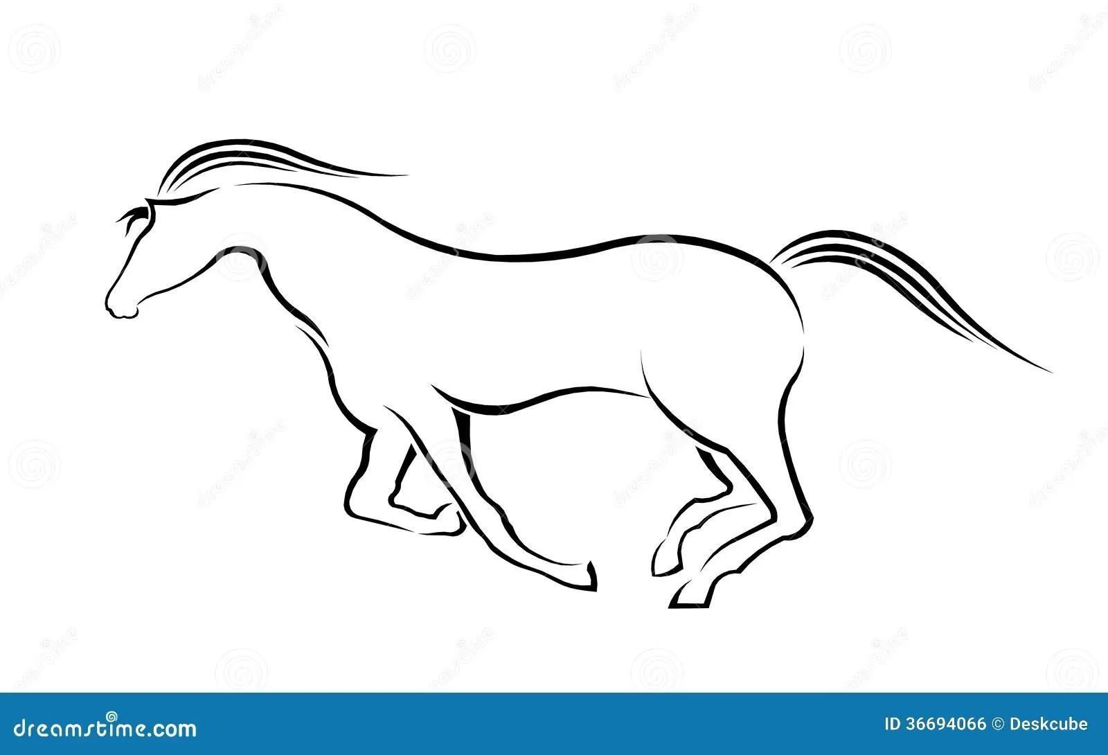 Running Horse Silhouette Stock Vector Illustration Of