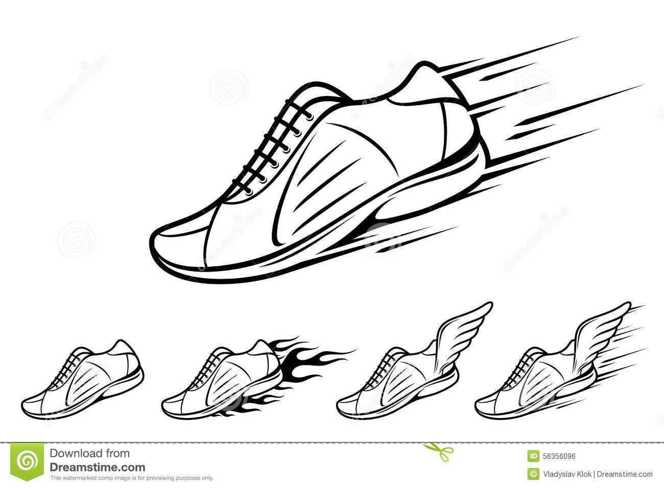 Running Shoe Icons Sports Shoe With Motion And Fire