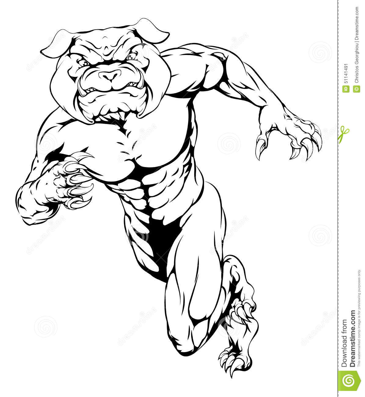 Running Tough Bulldog Stock Vector
