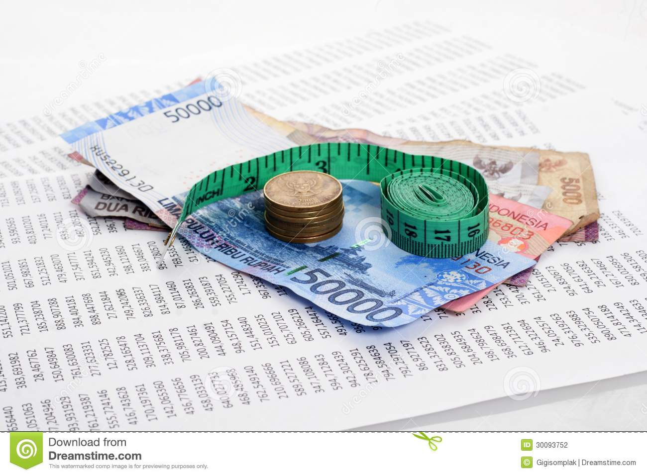 Rupiah With Measure Tape Stock Photography