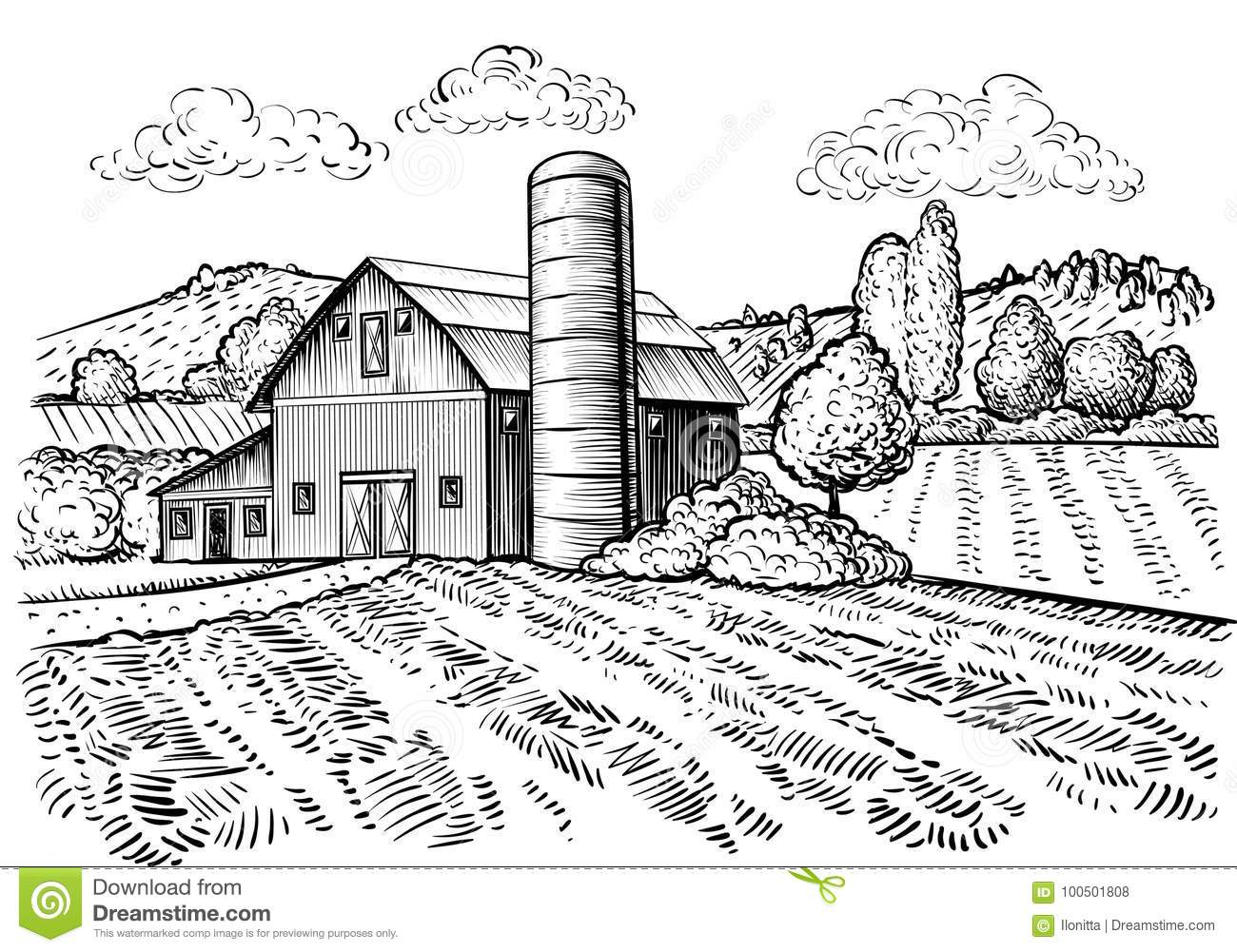 Rural Landscape Farm Barn And Windmill Sketch Stock