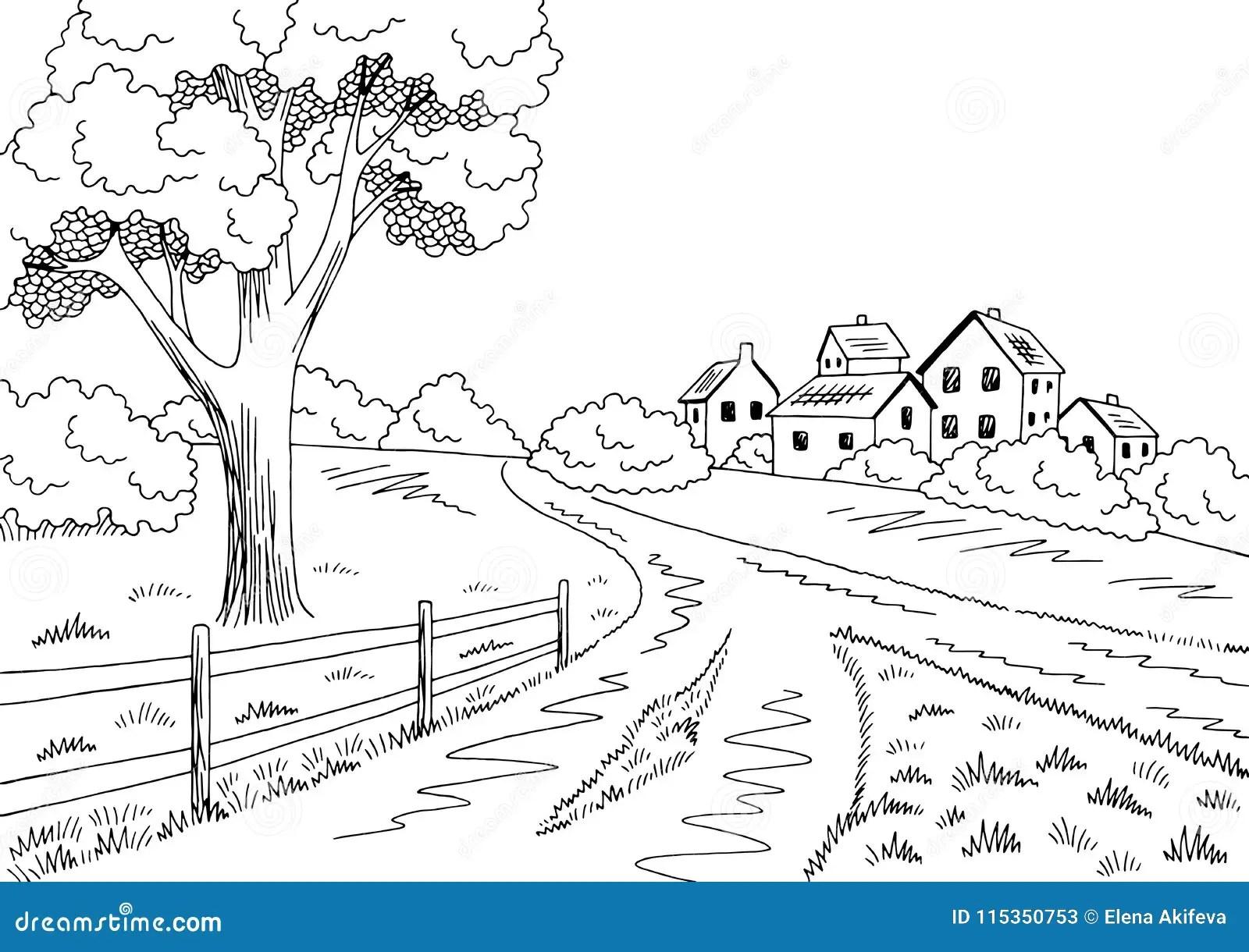 Rural Road Graphic Black White Village Landscape Sketch